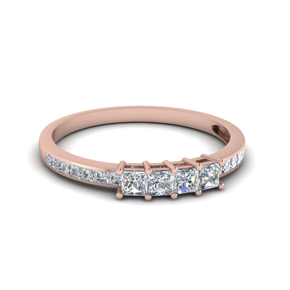 Princess Cut Channel Set Wedding Band For Most Current Diamond Channel Set Anniversary Bands In Rose Gold (View 16 of 25)