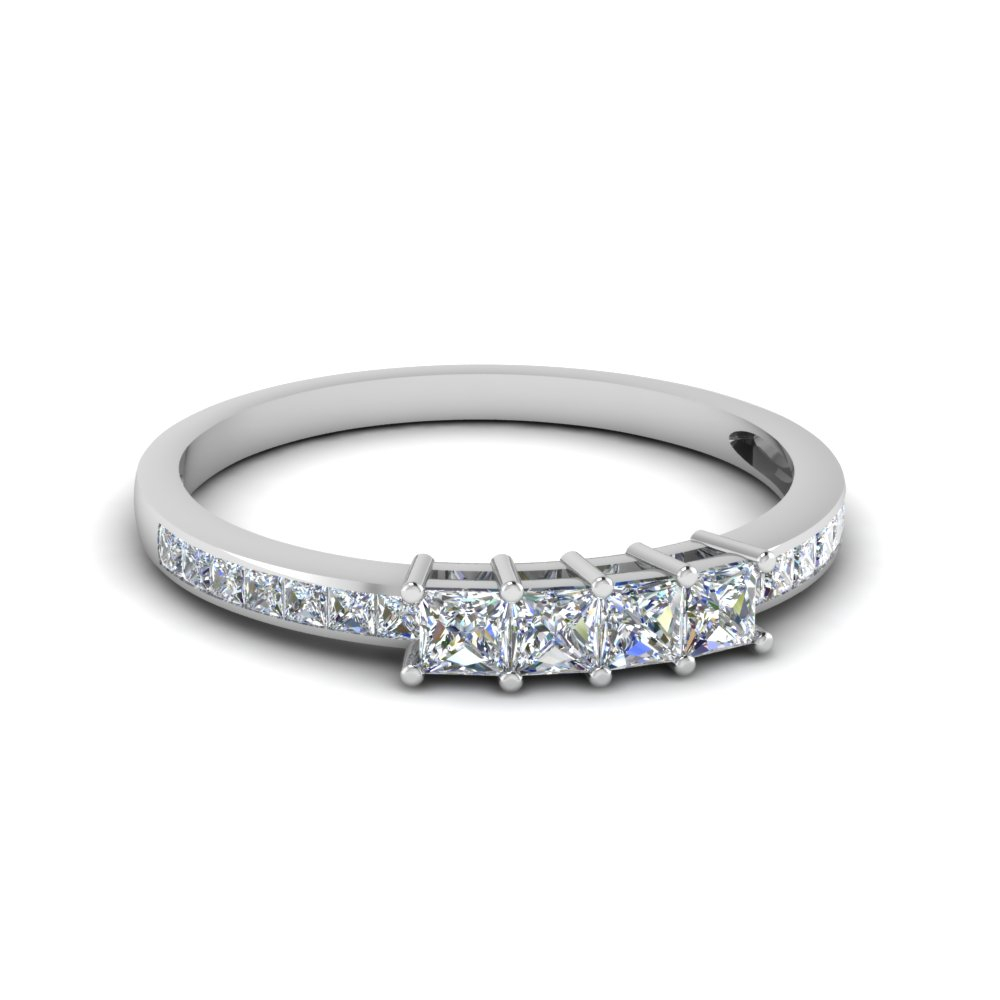 Princess Cut Channel Set Wedding Band Throughout Best And Newest Diamond Channel Set Anniversary Bands In White Gold (View 9 of 24)