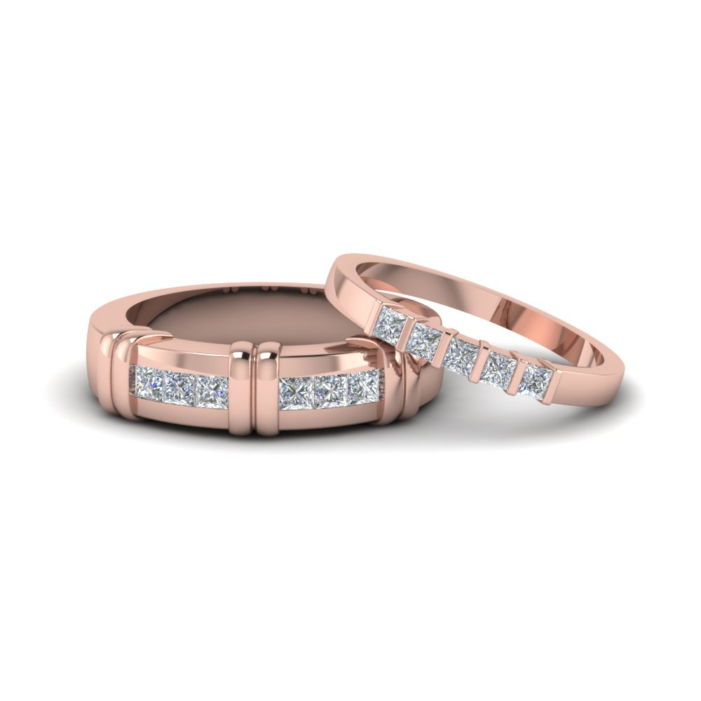 Princess Cut Diamond Channel Bar Set Anniversary Matching Throughout Current Diamond Channel Set Anniversary Bands In Rose Gold (View 17 of 25)