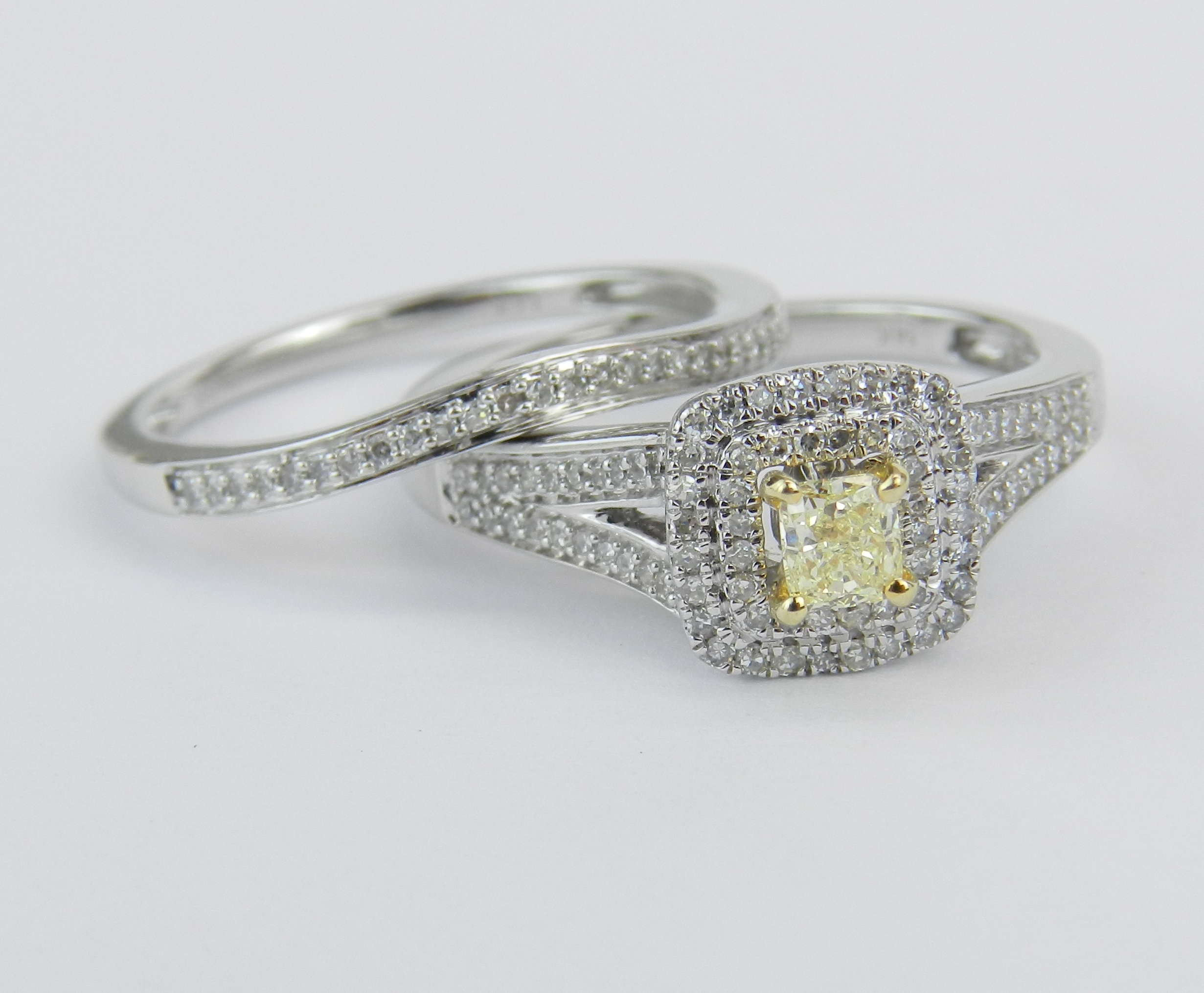 Princess Cut Diamond Engagement Ring, Canary Diamond In Most Recent Certified Princess Cut Diamond Contour Anniversary Bands In White Gold (View 19 of 25)
