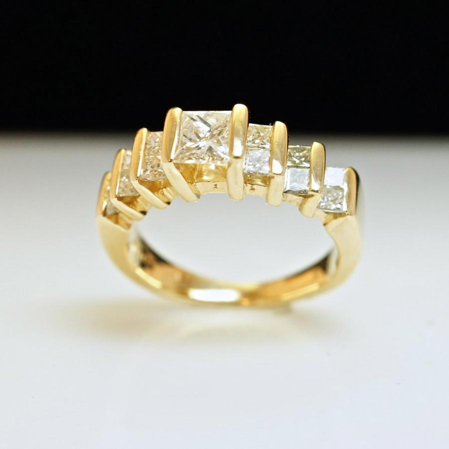 Princess Cut Diamond Engagement Ring Or Anniversary Band Inside Most Recent Princess Cut Diamond Anniversary Bands In Gold (View 9 of 25)