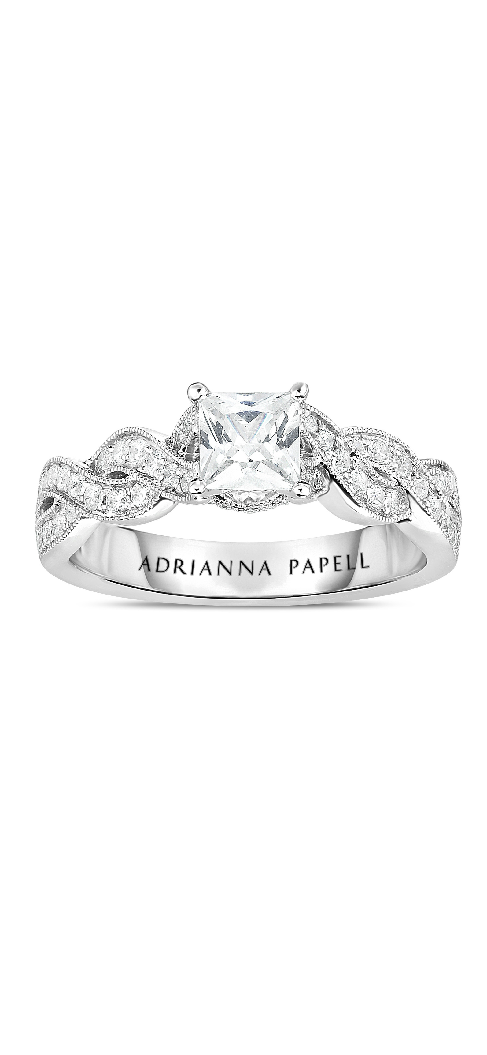 Princess Cut Diamond Engagement Ring With Infinity Twist In Pertaining To Most Current Certified Princess Cut Diamond Anniversary Bands In White Gold (View 19 of 25)