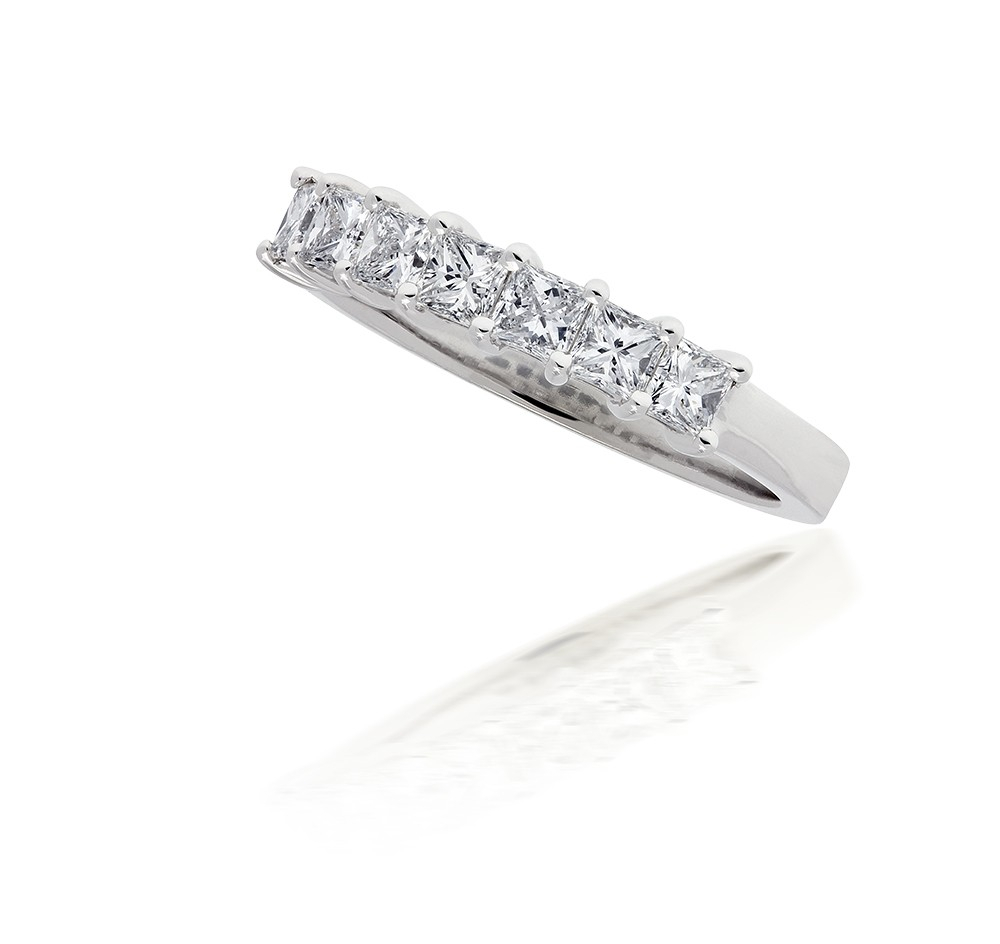 Princess Cut Diamond Seven Stone Ring In 14kt White Gold For Most Popular Ladies Princess Cut Diamond Seven Stone Anniversary Bands In White Gold (View 11 of 25)