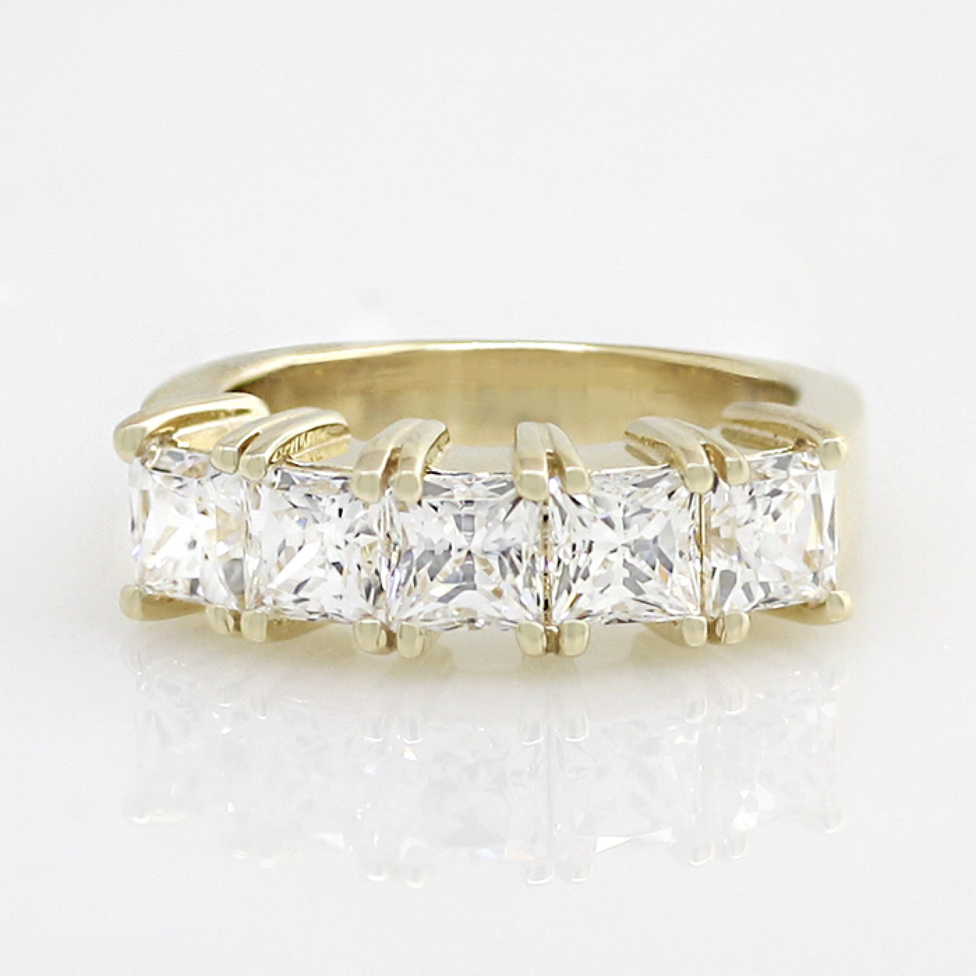 Princess Cut Five Stone Band With 2.80 Total Carat Weight – 14k Yellow Gold – Ring Size (View 14 of 25)