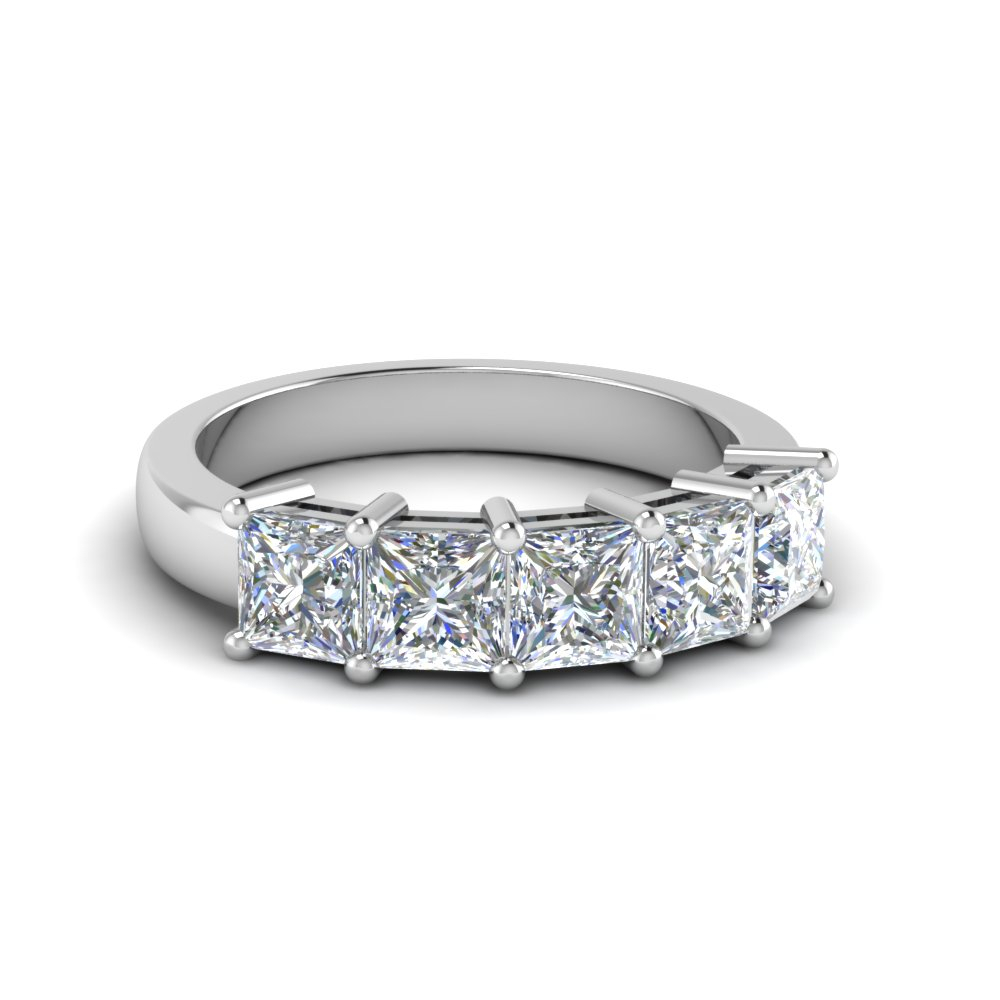 Featured Photo of Princess Cut Diamond Five Stone Anniversary Bands In White Gold