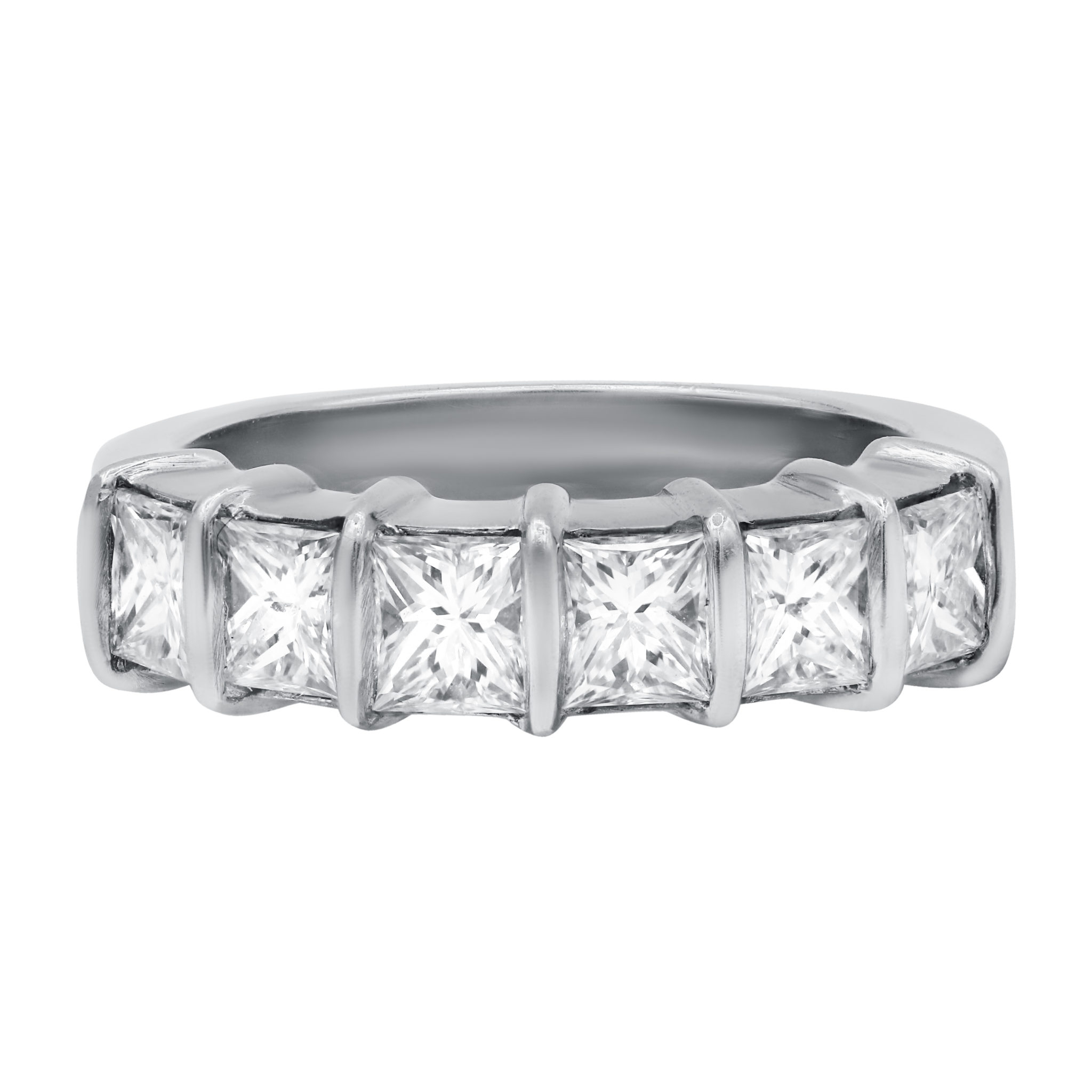 Princess Cut Half Way Around Band With Most Popular Princess Cut And Round Diamond Three Row Anniversary Bands In White Gold (Gallery 10 of 25)