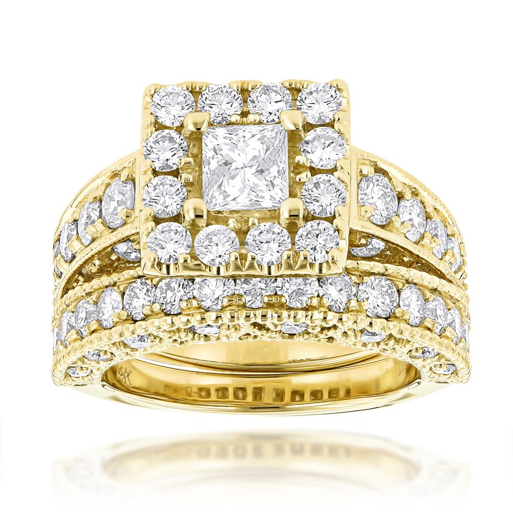 Princess Cut Round Diamond Engagement Ring Wedding Band Set  (View 18 of 25)