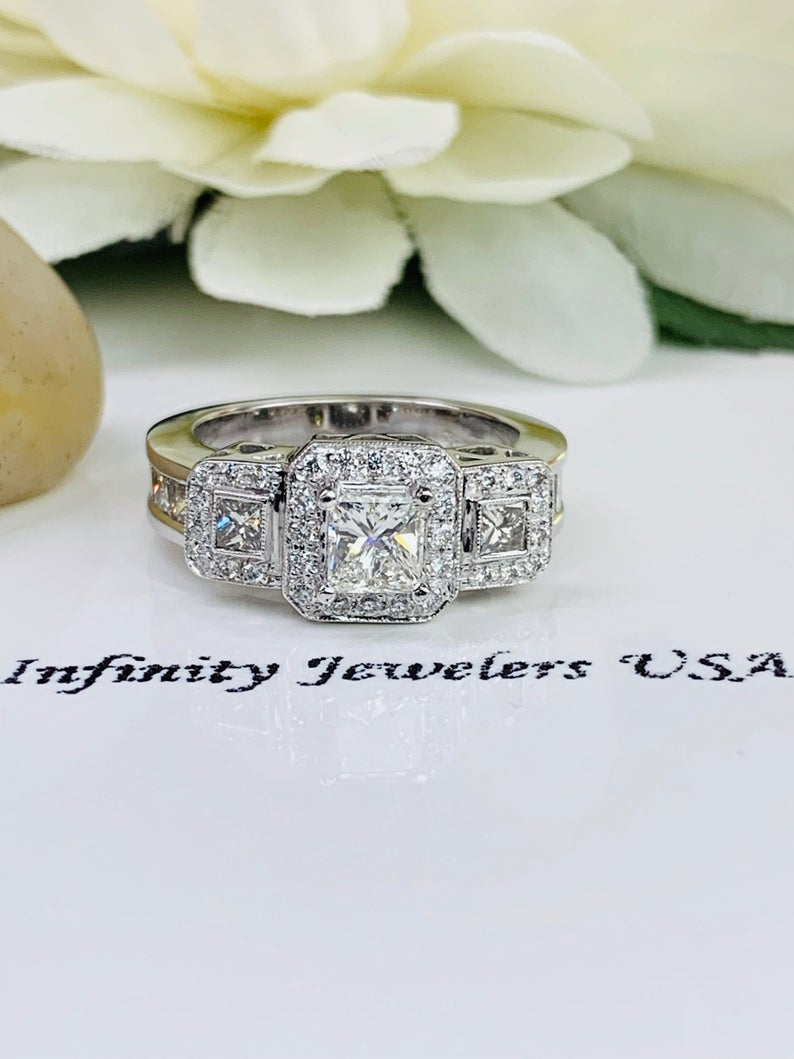 """Princess Cut Three Stone Diamond Halo Engagement Wedding Ring With Princess  Cut And Round Accents 1.50 Ctw. 14K White Gold #0247 Close Out Regarding Most Popular Diamond Accent Five Stone """"s"""" Anniversary Bands In White Gold (Gallery 24 of 25)"""
