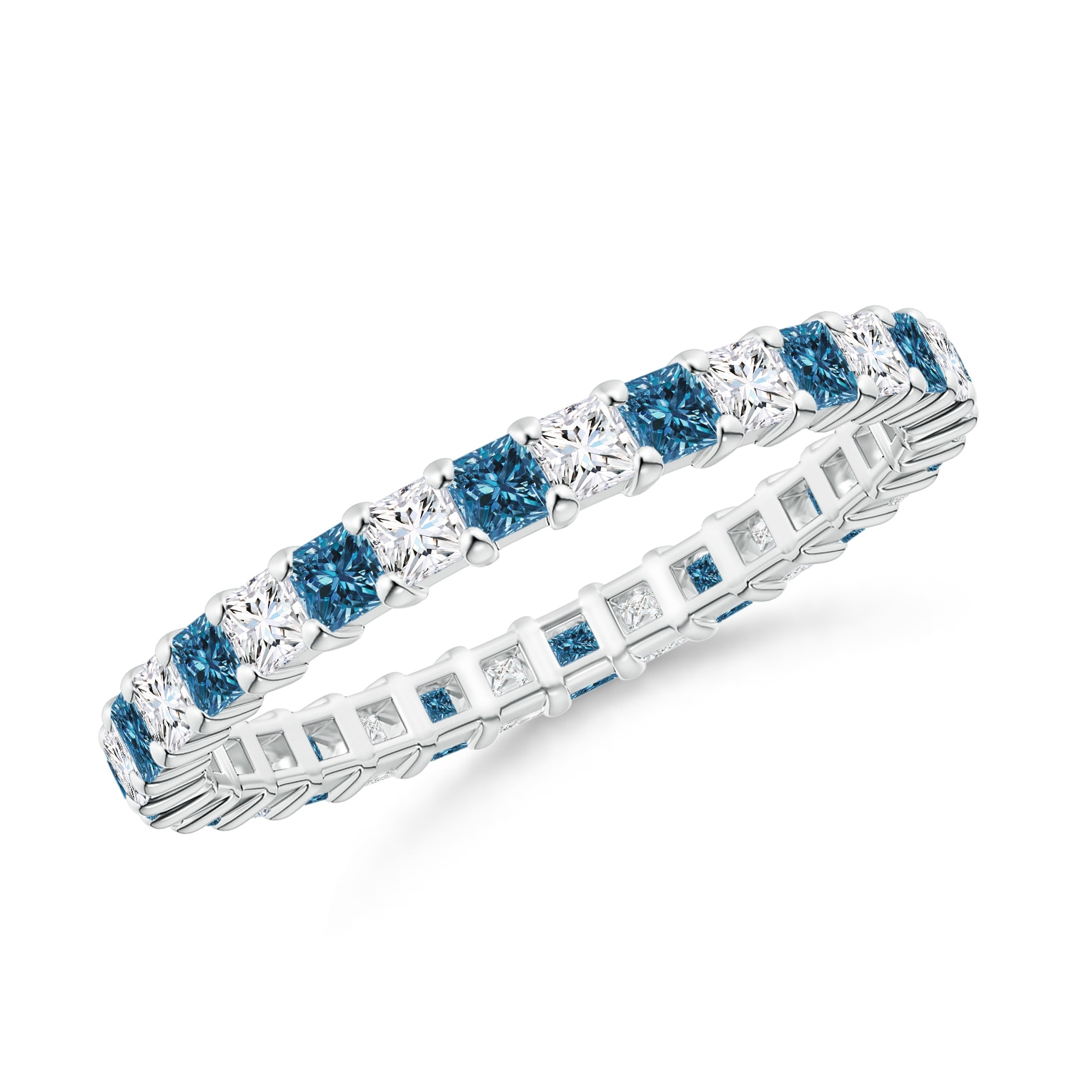 Featured Photo of Enhanced Blue And White Diamond Anniversary Bands In White Gold