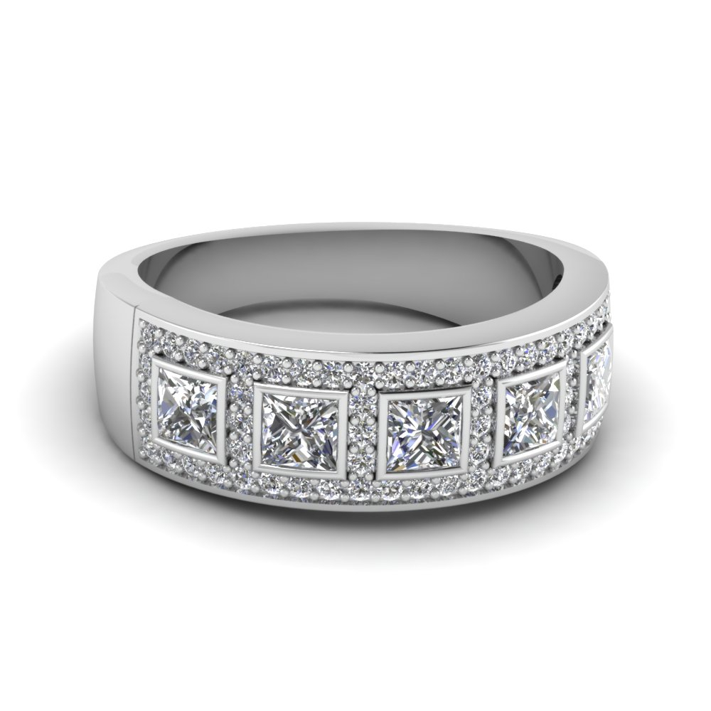 Princess Cut White Diamond Wedding | Fascinating Diamonds In 2019 Diamond Four Row Anniversary Bands In White Gold (View 12 of 25)