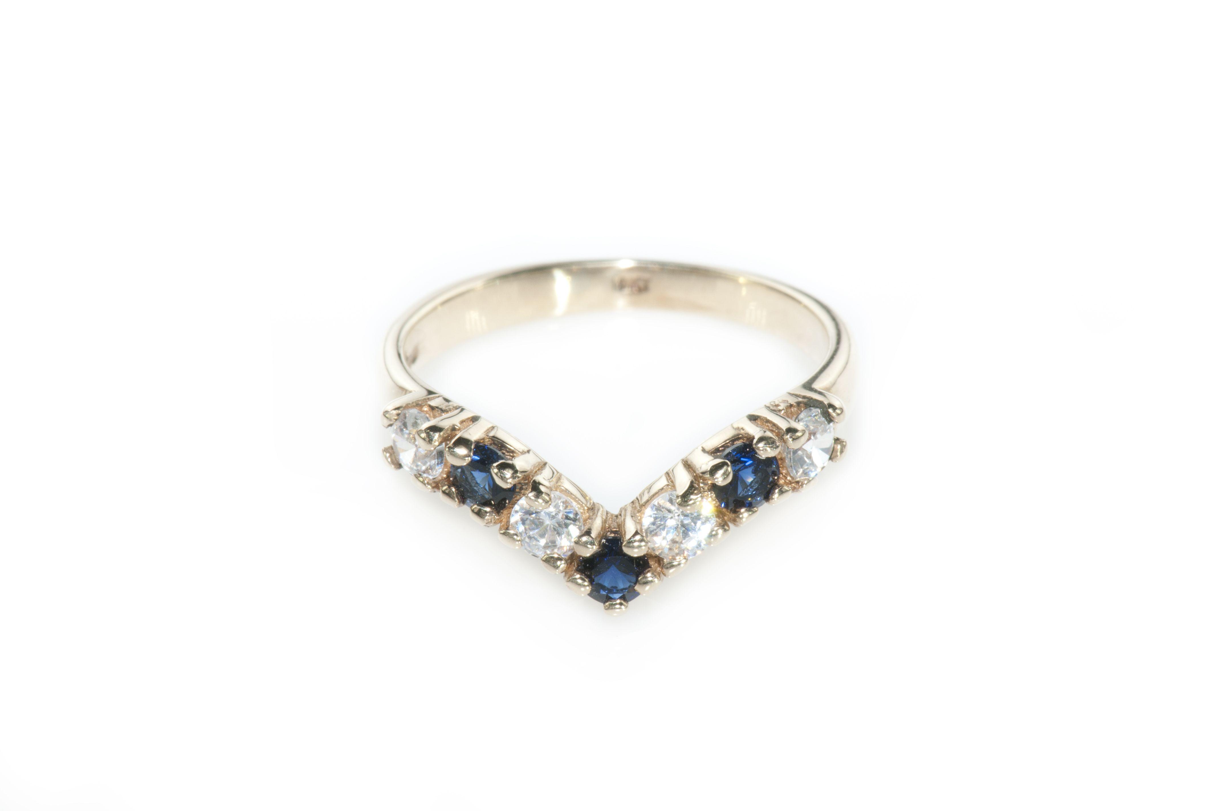 Princess Diadem – Vintage Gold Sapphire & Zircons Ring (View 12 of 25)