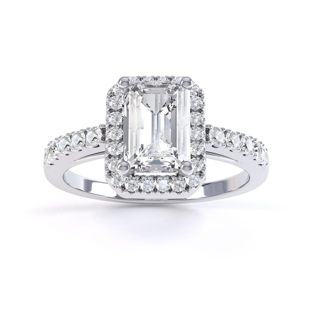 Princess Diamond Emerald Cut Halo Platinum Engagement Ring Intended For Most Recently Released Classic Sparkle Halo Rings (View 21 of 25)