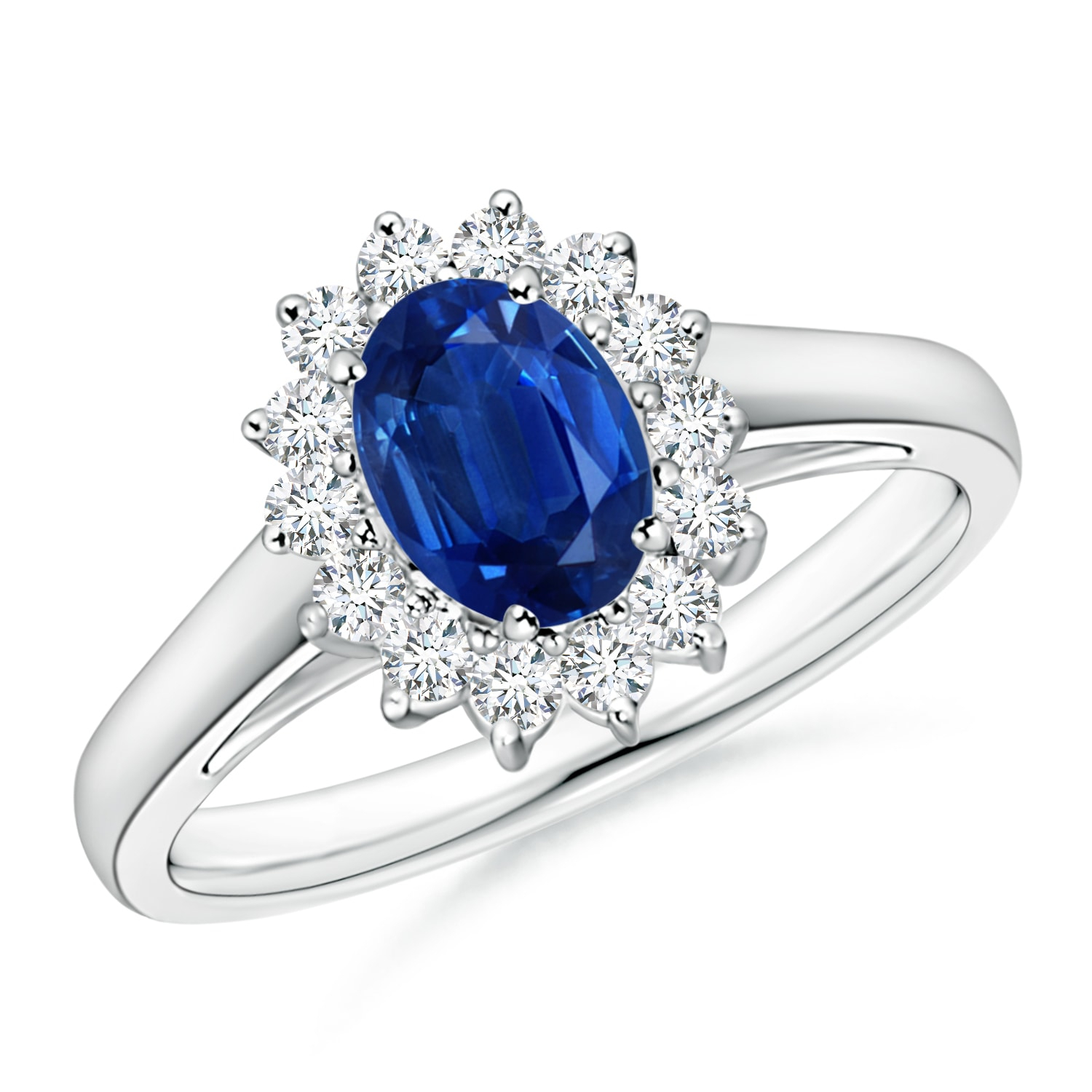 Princess Diana Inspired Blue Sapphire Ring With Diamond Halo Inside Most Up To Date Enhanced Blue Diamond Vintage Style Anniversary Bands In White Gold (Gallery 24 of 25)