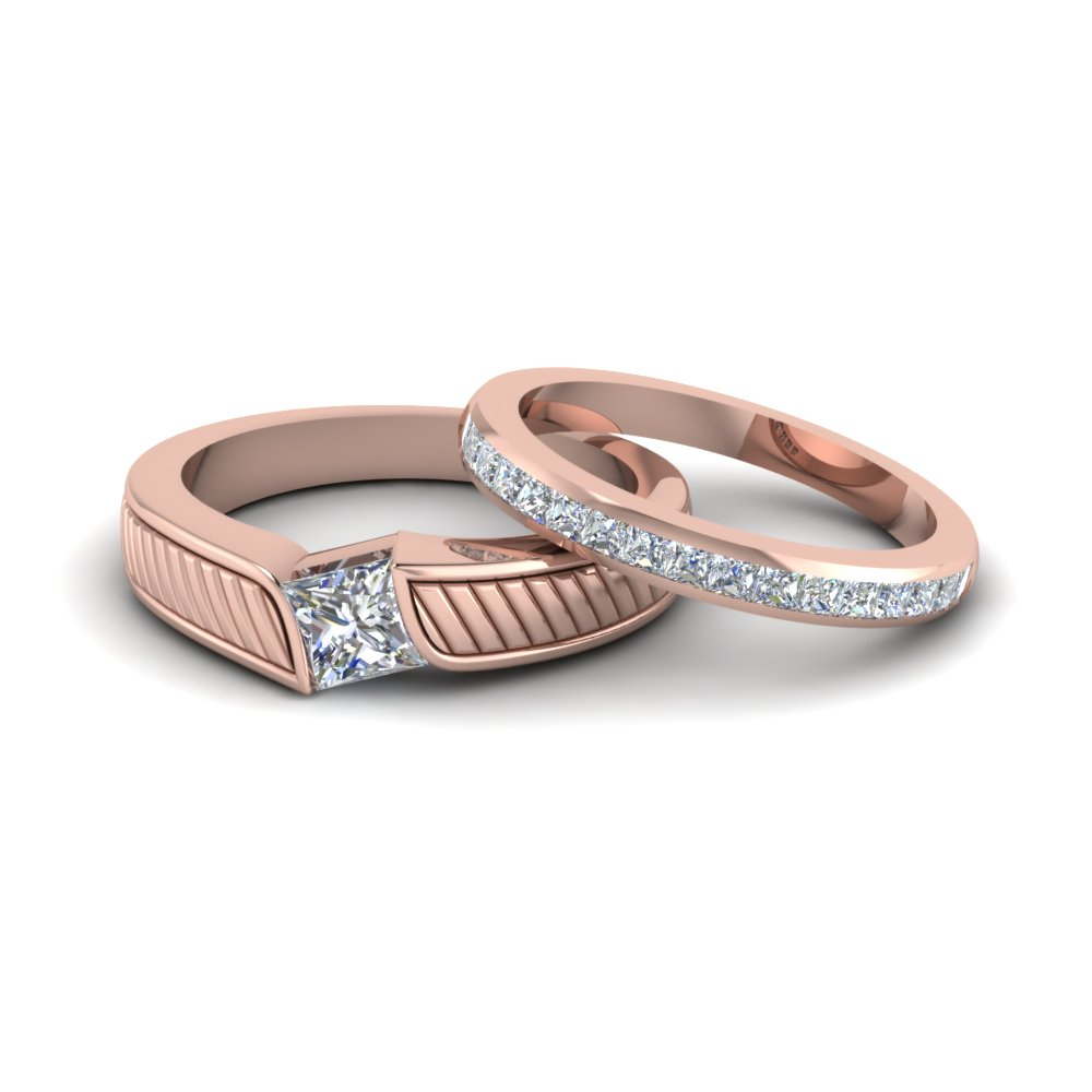 Princess Matching Wedding Bands For His And Hers In Most Up To Date Diamond Channel Set Anniversary Bands In Rose Gold (View 18 of 25)
