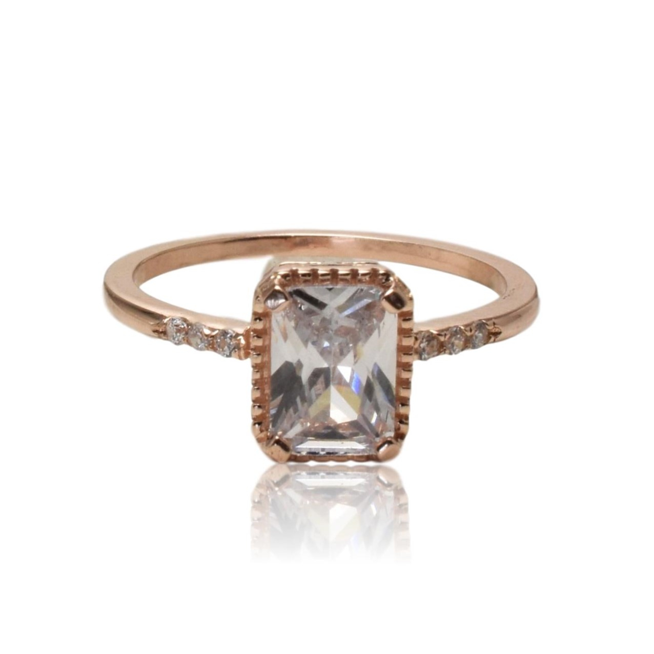"""Princess Rose Gold Ring Pertaining To Latest Diamond Seven Stone """"x"""" Anniversary Bands In Sterling Silver And Rose Gold (View 15 of 25)"""