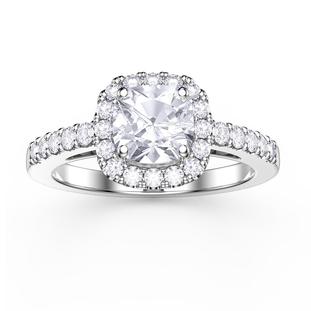 Princess White Sapphire Cushion Cut Halo Platinum Plated Silver Promise Ring Within Recent Classic Sparkle Halo Rings (View 14 of 25)