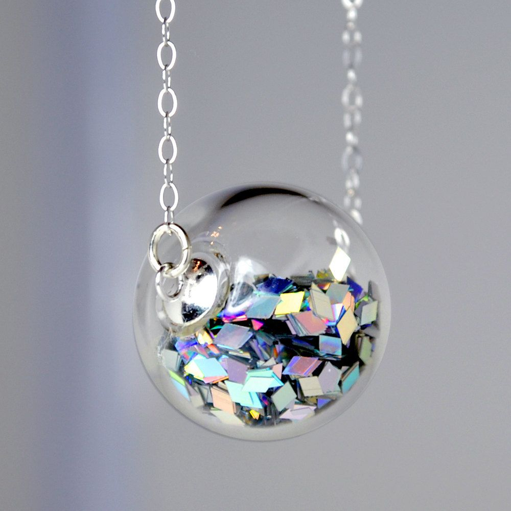 Prism Glitter Hand Blown Glass Ball Silver Necklace In 2019 With Best And Newest Sparkling Ice Cube Circle Pendant Necklaces (View 18 of 25)
