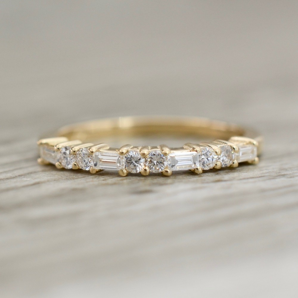 Prong Set Baguette & Round Diamond Band In Yellow Throughout Most Popular Baguette And Round Diamond Anniversary Bands In White Gold (View 7 of 25)
