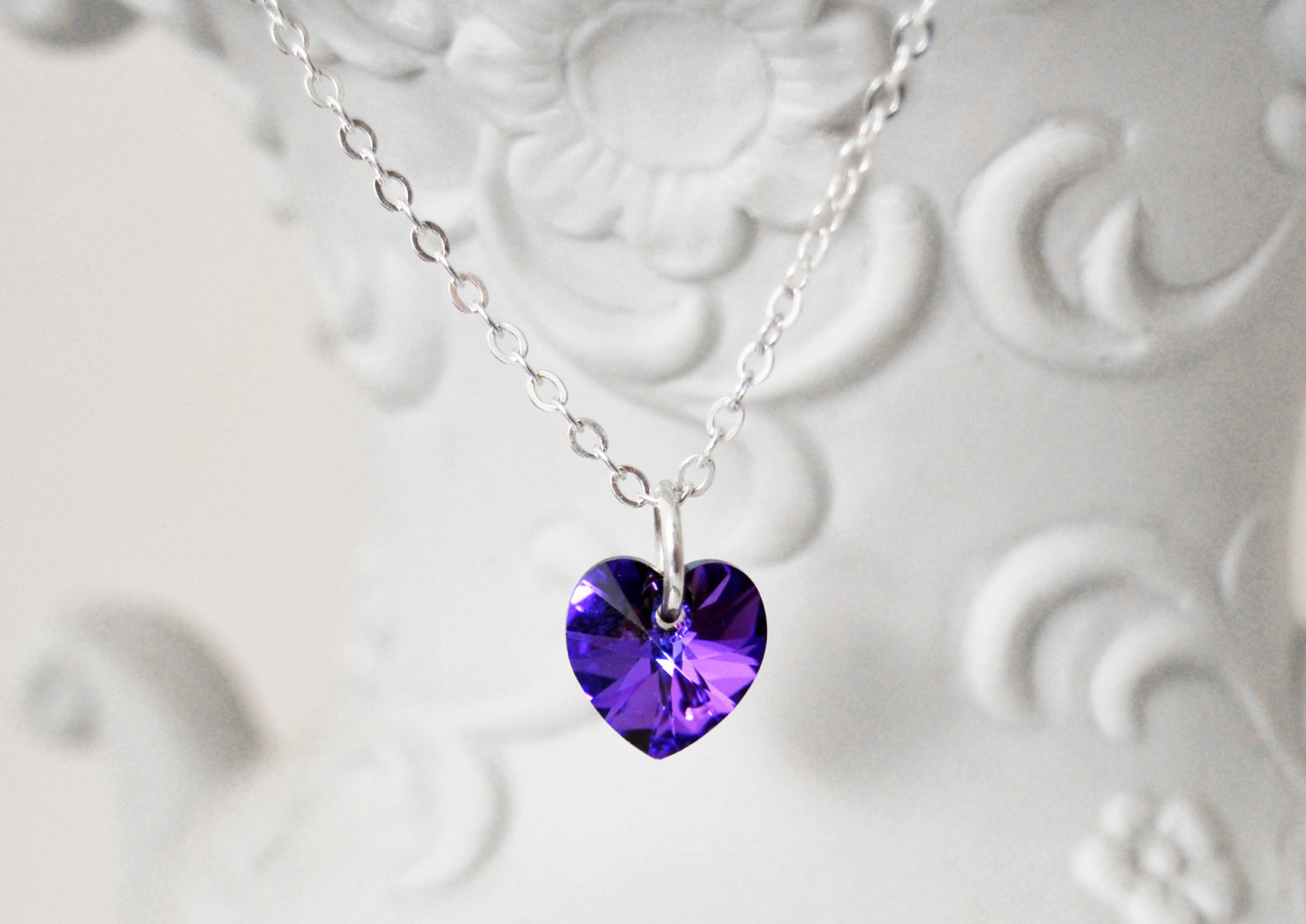 Purple Crystal Heart Necklace Swarovski Elements Girls Heart Pendant Heart  Jewelry Purple Necklace Girls Birthday Jewelry With Regard To Recent Purple February Birthstone Locket Element Necklaces (View 19 of 25)