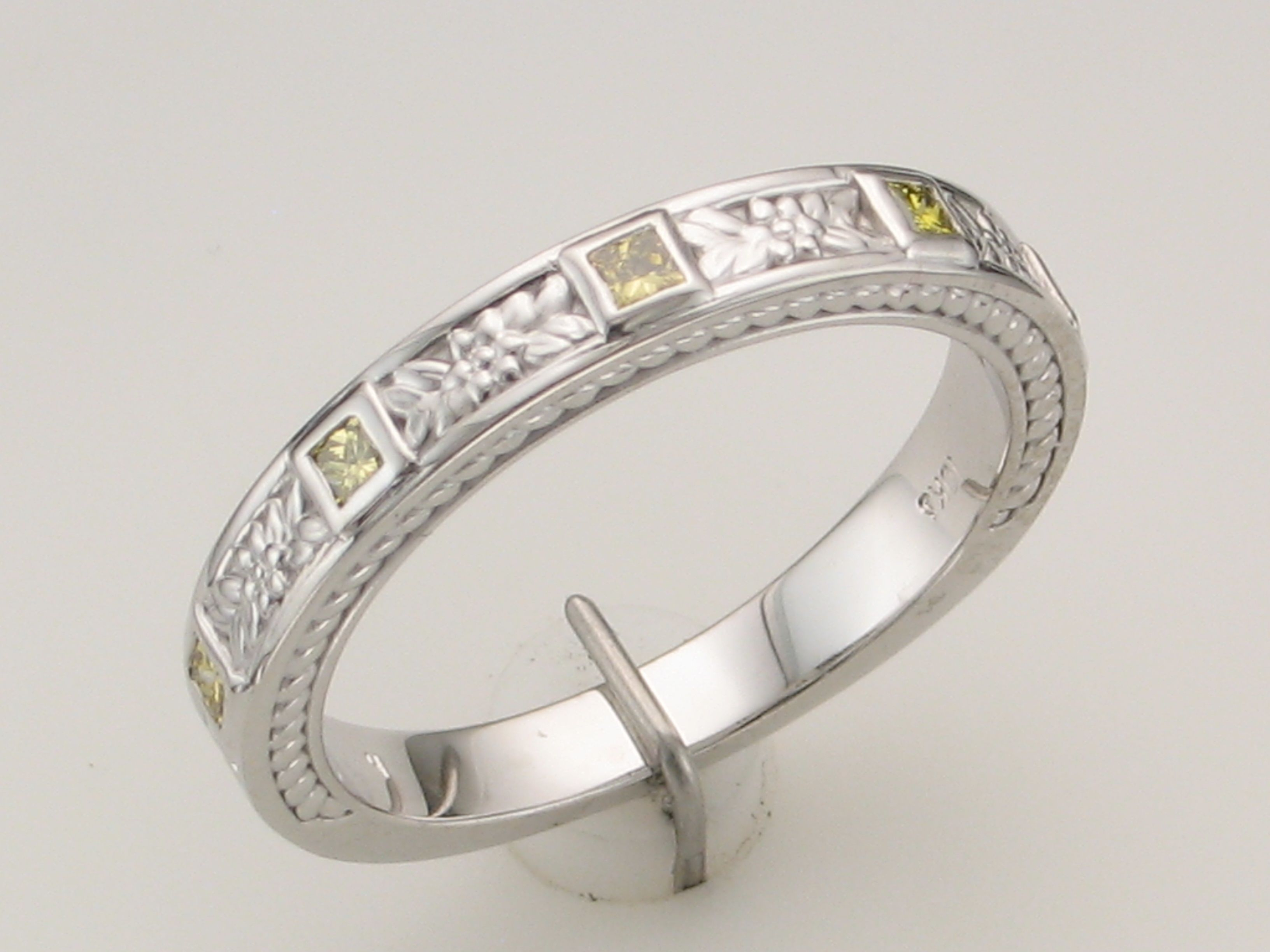 Purple Mountain Jewelry Custom Designs Fancy Yellow #diamond Throughout Most Recently Released Diamond Linear Anniversary Bands In White Gold (View 13 of 25)