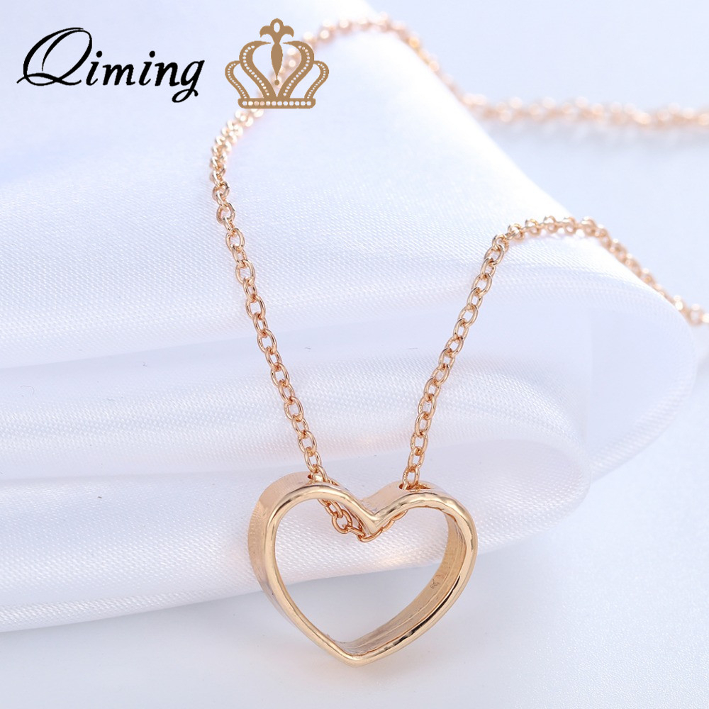 Qiming Simple Heart Love Necklace Ladies Wedding Bridesmaid Gift Intended For Most Up To Date Ice Crystal Heart Collier Necklaces (View 12 of 25)
