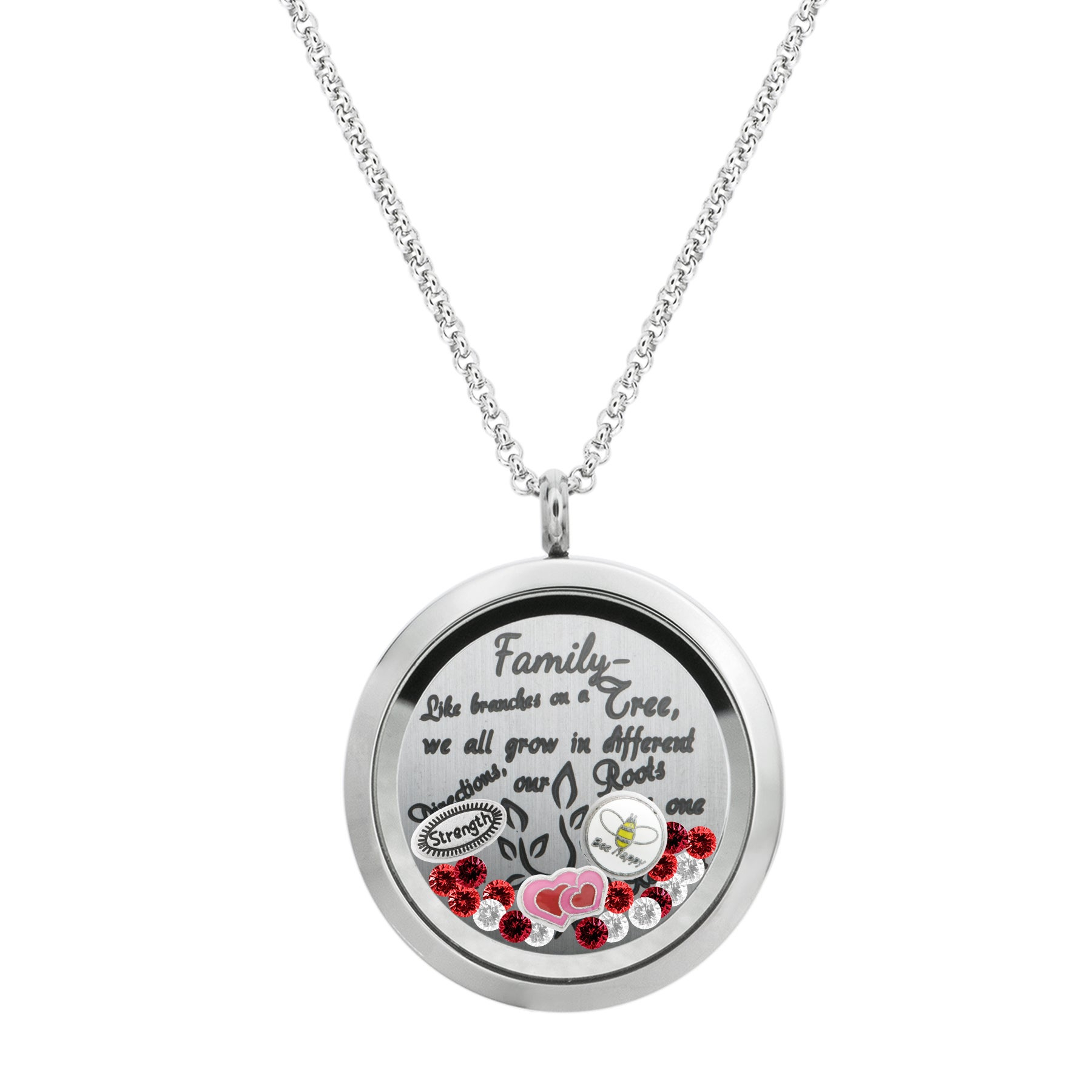 Queenberry Family Tree Love Heart Round Floating Locket Crystals Charm Necklace Pendant For Most Current Family Tree Heart Pendant Necklaces (View 14 of 25)