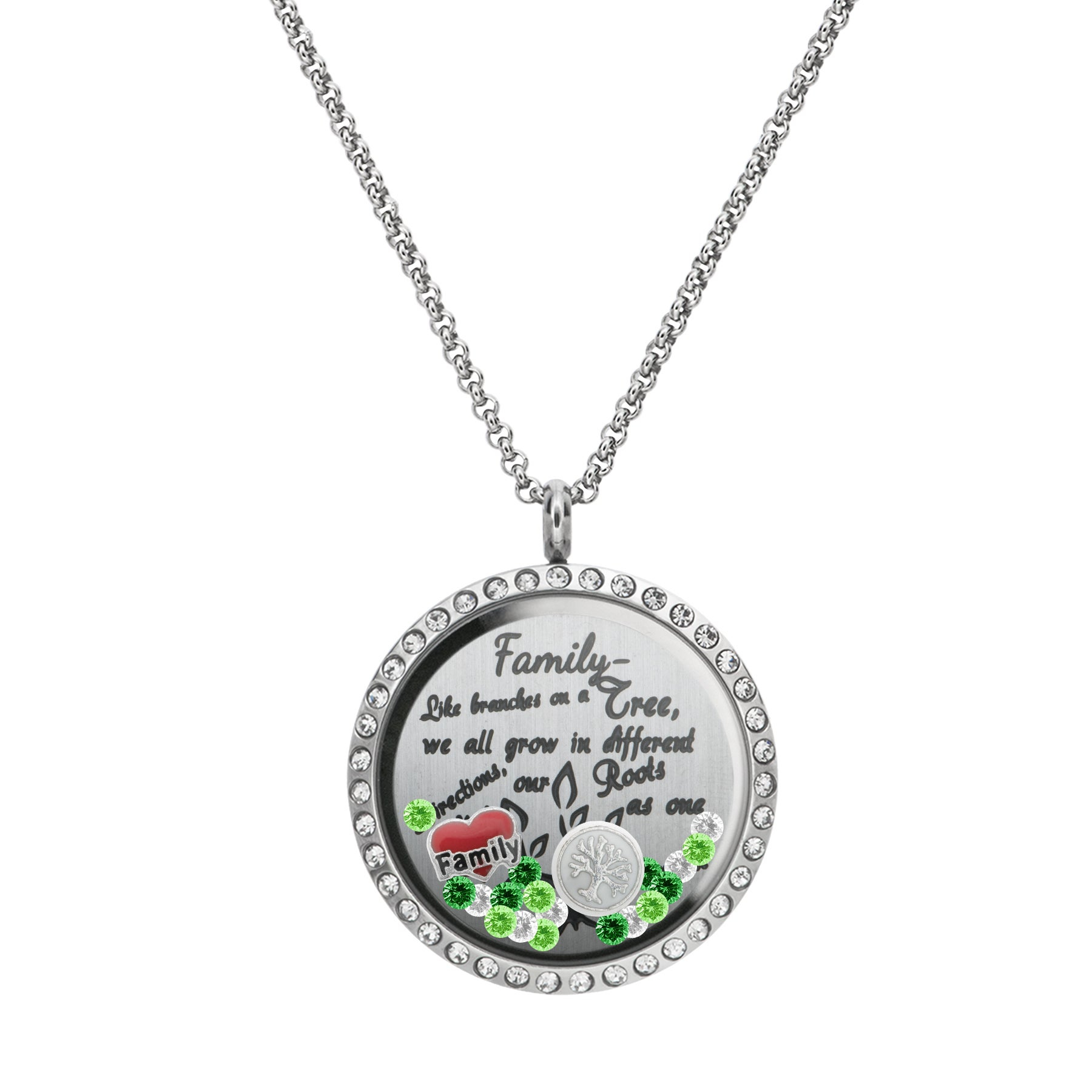 Queenberry Family Tree Love Heart Round Floating Locket Crystals Charm Necklace Pendant With Regard To Latest Love & Family Petite Locket Charms Necklaces (View 12 of 25)