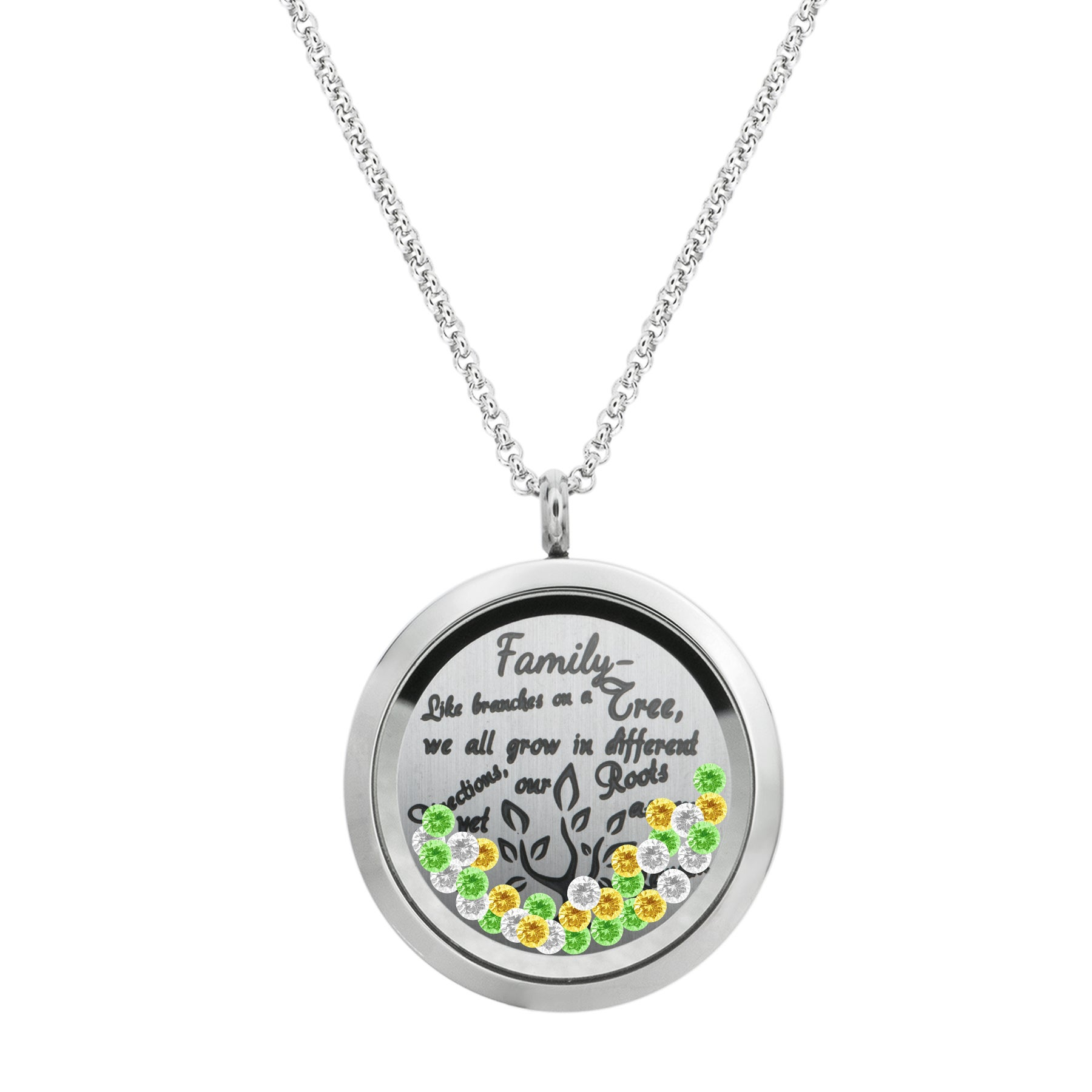 Queenberry Family Tree Love Heart Round Floating Locket Crystals Charm Necklace Pendant Within Most Recently Released Love & Family Petite Locket Charms Necklaces (View 15 of 25)