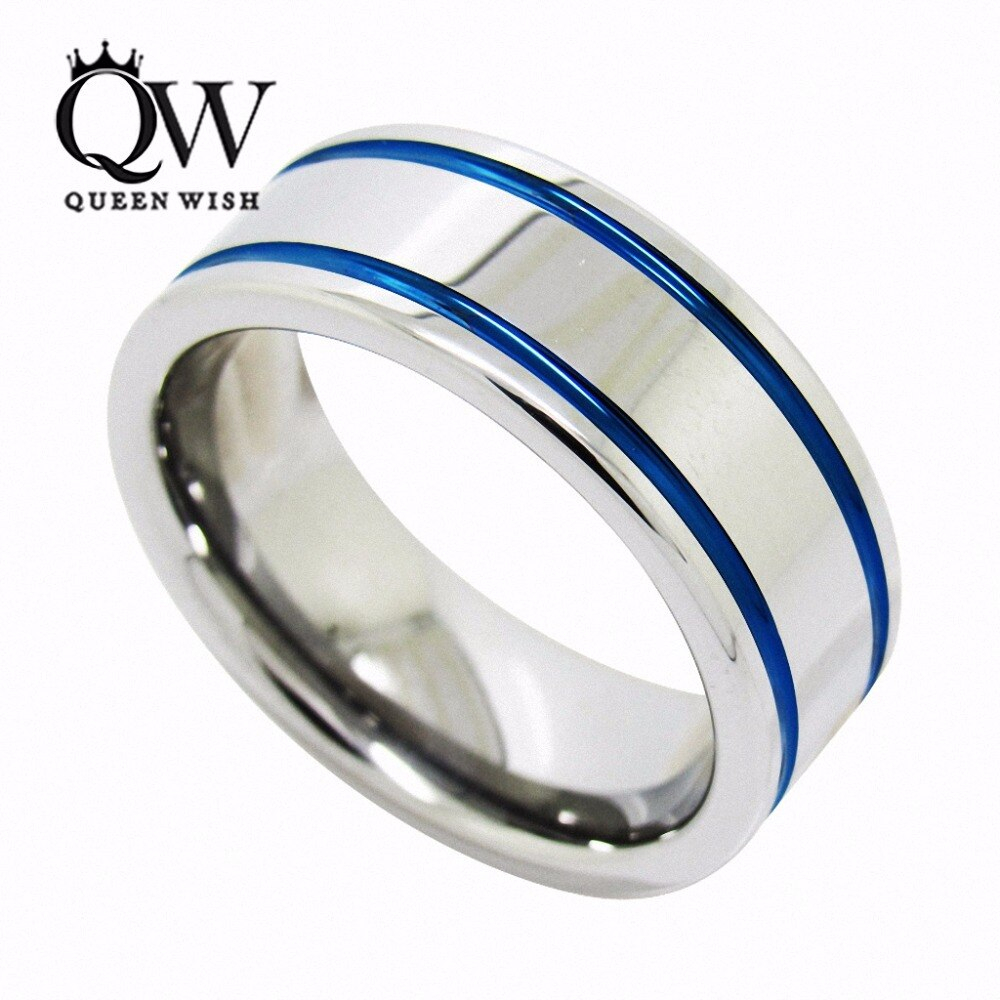 Queenwish White Tungsten Ring Two Grooved Blue Stripes Polished Edge  Comfort Fit Couples Rings Set In Rings From Jewelry & Accessories On Within 2017 Blue Stripes Rings (Gallery 3 of 25)