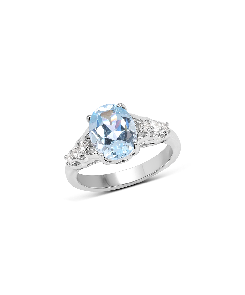 Quintessence Jewelry Blue & White Topaz Oval Cut Pavé Band Ring For Most Recent Sparkling Pavé Band Rings (Gallery 21 of 25)