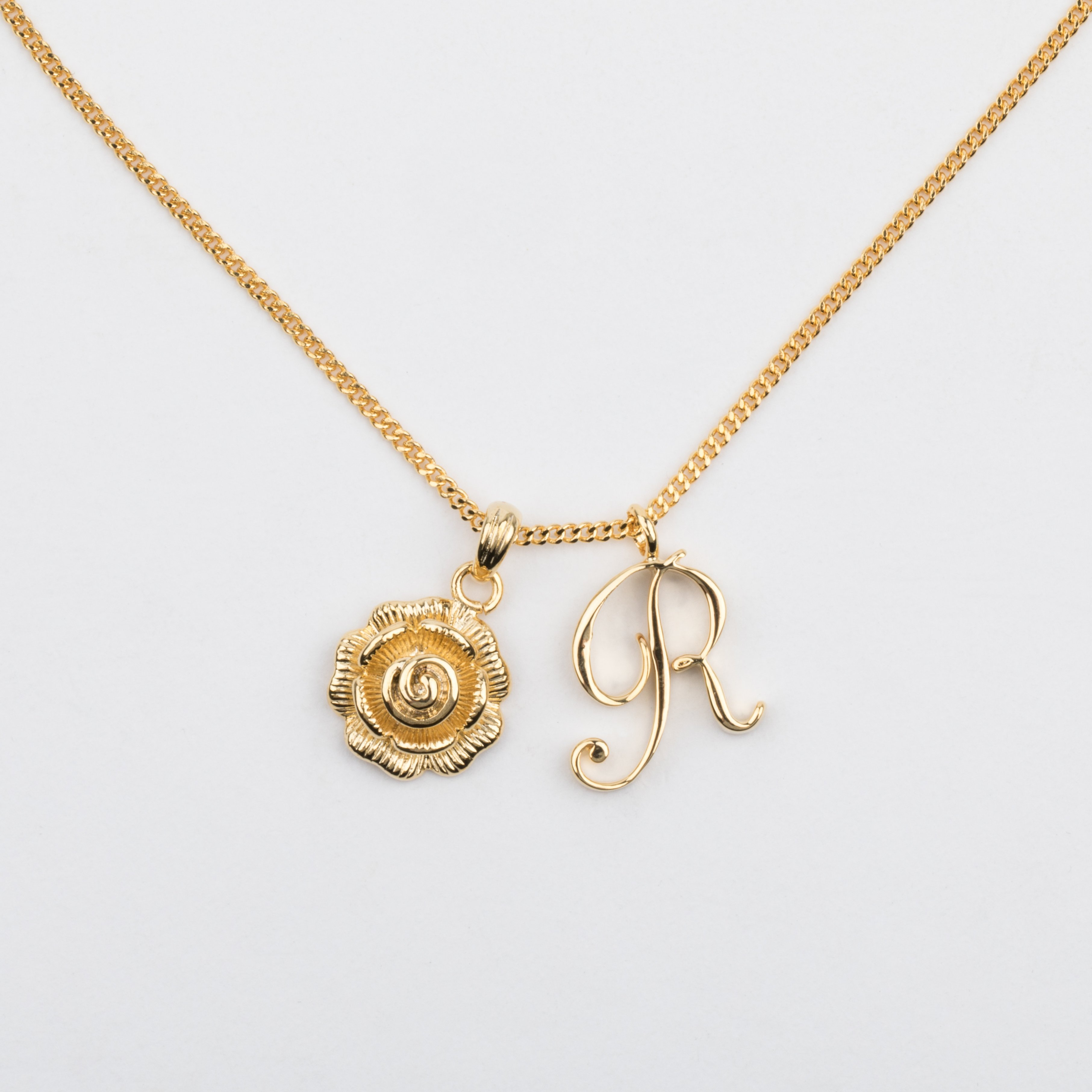 R Initial Necklace With Rose Pendant In 2019 | My Closet | Initial With Best And Newest Letter R Alphabet Locket Element Necklaces (View 3 of 25)