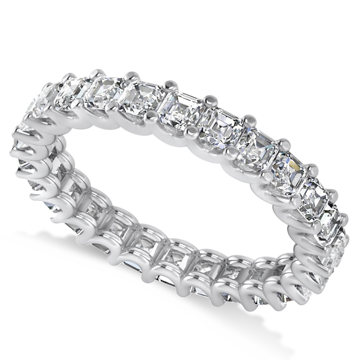 Radiant Cut Diamond Eternity Wedding Band Ring 14K White Gold ( (View 22 of 25)