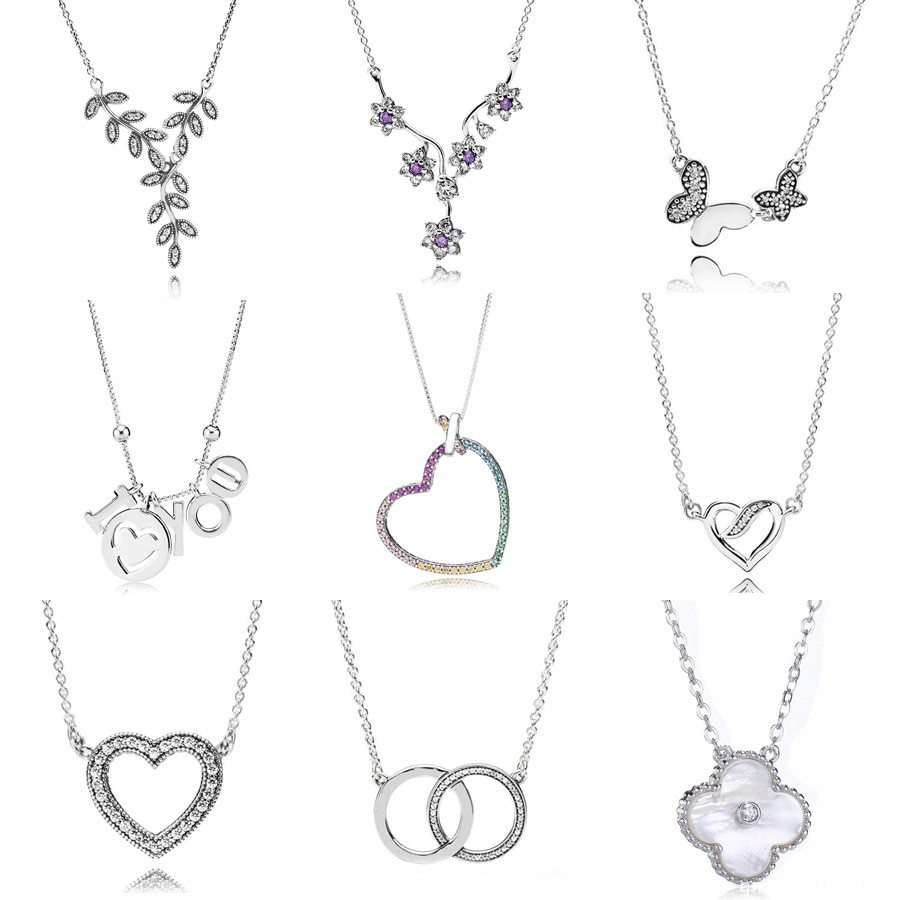 Rainbow Heart I Love You Logo Signature Two Interlocking Circles Necklace For Women Pandora Jewelry 925 Sterling Silver Necklace With Regard To Most Recently Released Pandora Logo Circle Necklaces (View 14 of 25)