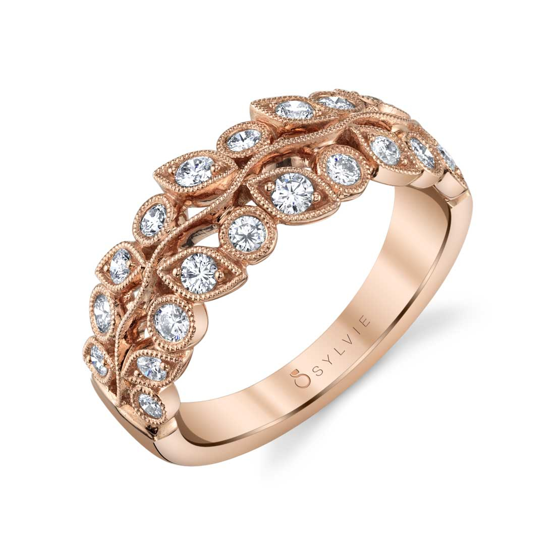 Ramona – Rose Gold Flower Wedding Band – Sylvie Collection In Current Marquise And Round Diamond Alternating Anniversary Bands In Rose Gold (Gallery 21 of 25)