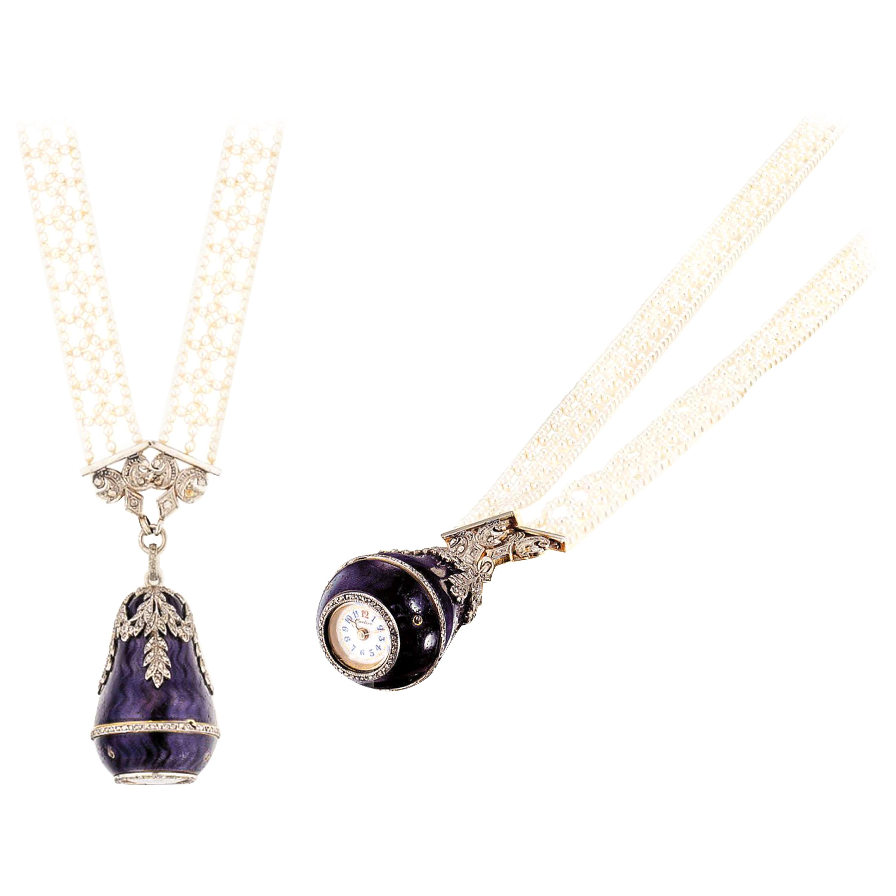 Rare 1900S Cartier Platinum Diamond Enamel Bell Form Pendant Watch With  Necklace Inside Most Current Family Script Locket Element Necklaces (View 20 of 25)