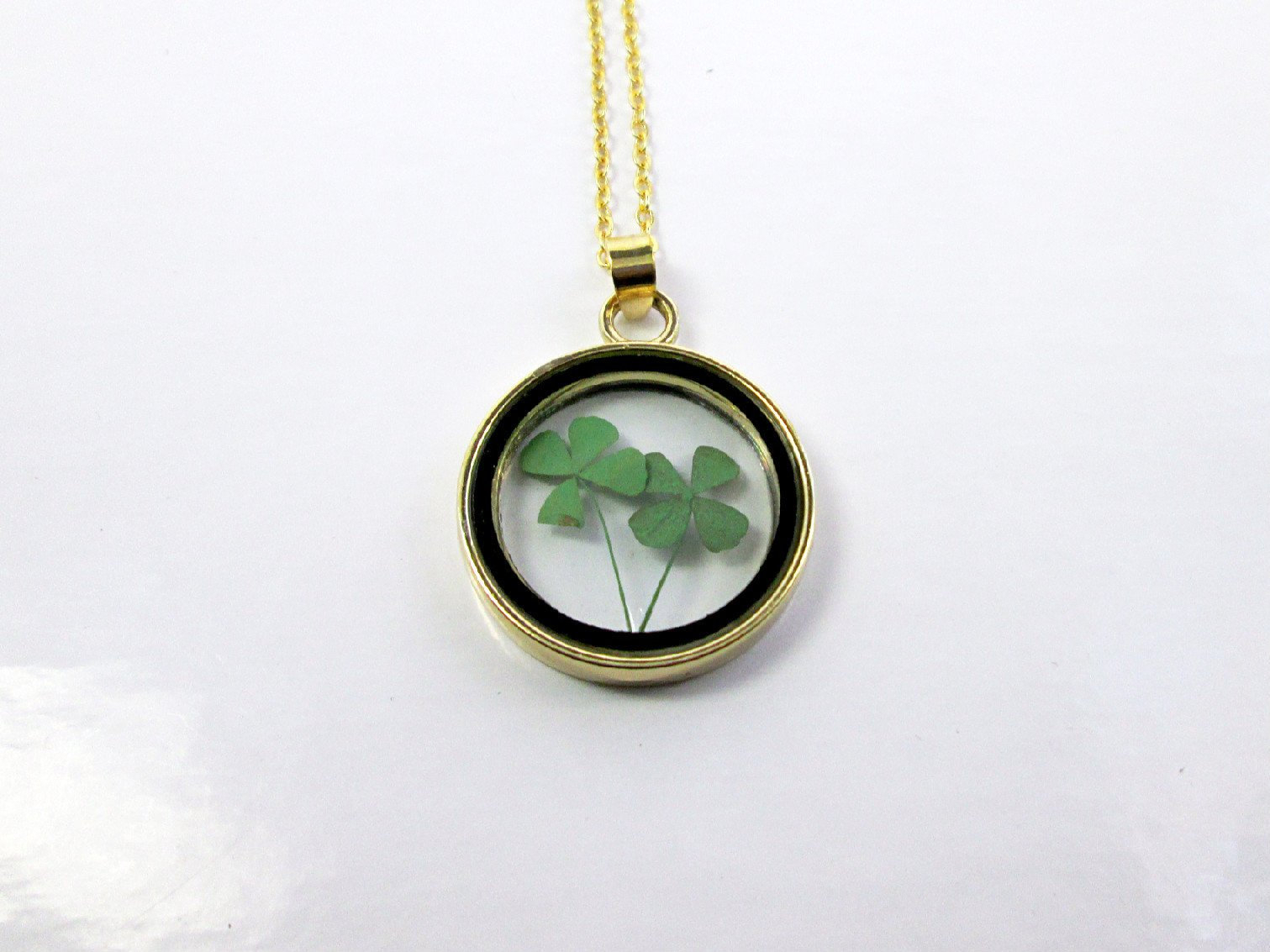 Real Four Leaf Clover Necklace Emerald Green Shamrock Glass Pendant  Necklace Irish Jewelry Good Luck Jewelry Nature Necklace Teen Jewelry Throughout Most Current Lucky Four Leaf Clover Locket Element Necklaces (View 21 of 25)