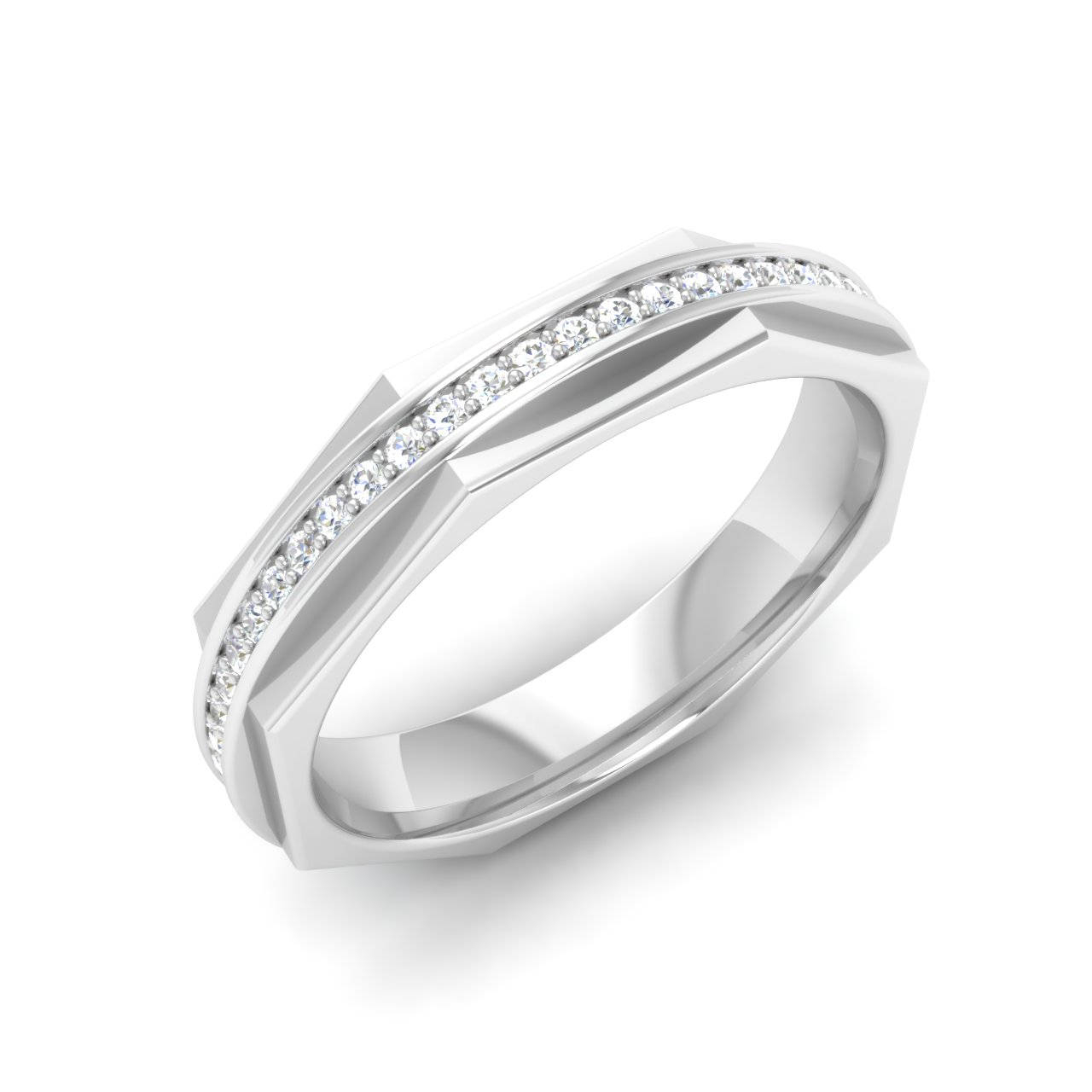 Real Round Cut Diamond Wedding Band In 14K White Gold | Diamond Eternity  Ring | Certified Diamond Anniversary Band |Rose Gold Band For Women Regarding Best And Newest Certified Diamond Anniversary Bands In Gold (View 21 of 25)