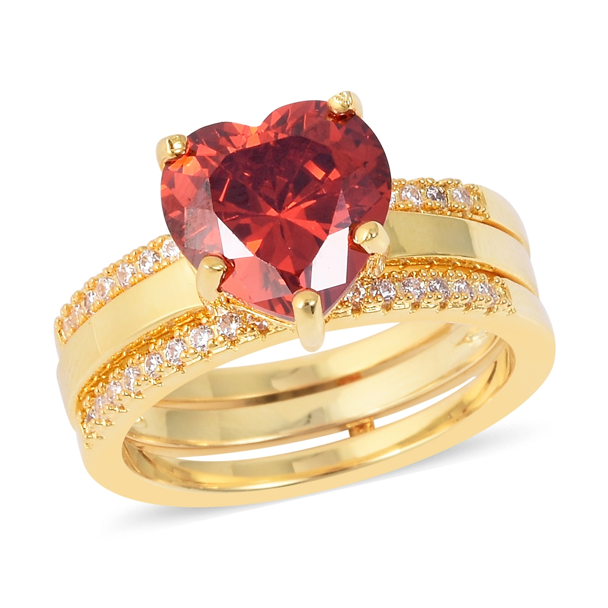 Red And White Cz Stackable Band Heart Ring In Goldtone (Size 9)  (View 13 of 25)