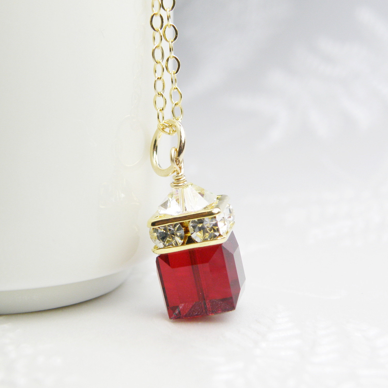 Red Garnet Cube Necklace, Red Swarovski Crystal Pendant, Gold Filled, Bridesmaid Wedding Jewelry, January Birthstone Birthday Gift For Wife Pertaining To Most Up To Date Garnet Red January Birthstone Locket Element Necklaces (View 8 of 25)