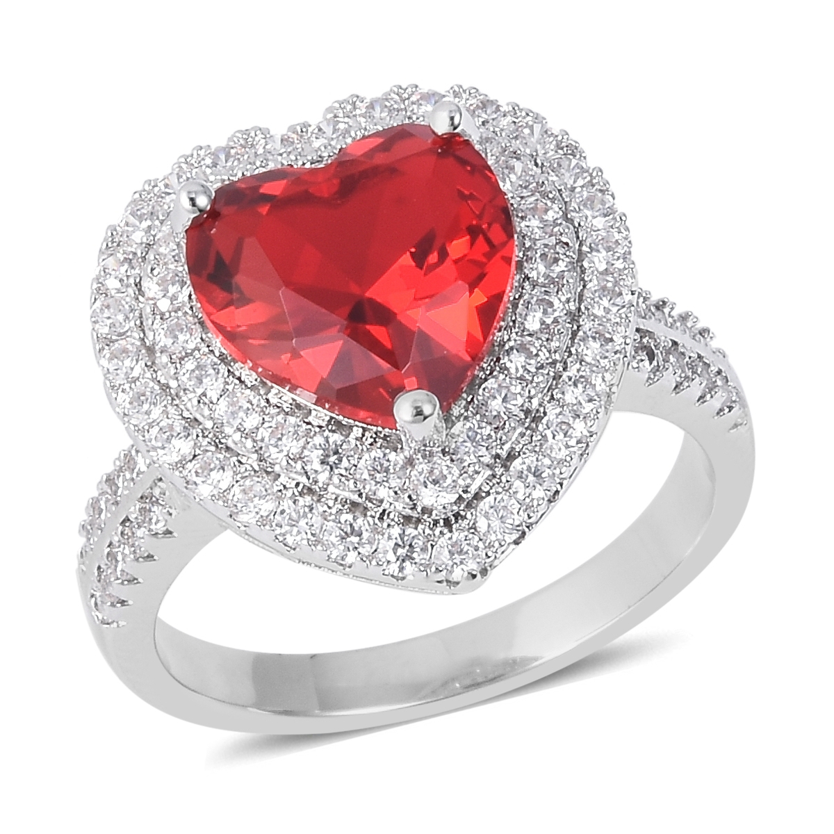 Red Glass, White Cz Heart Ring In Silvertone (size 11.0) (View 10 of 25)