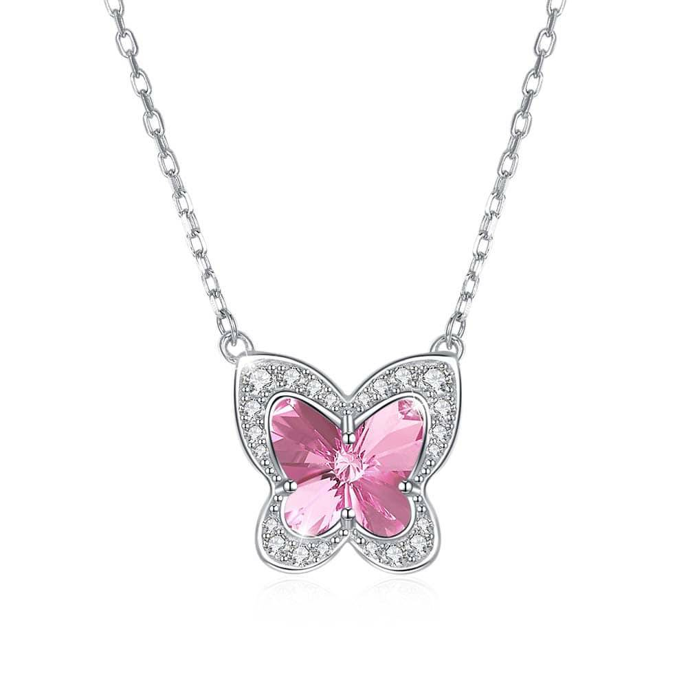 Red Nymph Fashion 925 Sterling Silver Necklace With Butterfly Crystal Pendant | Fashion Accessories, Wedding Rings And Fashion Jewellery In 2020 Pink Butterfly Locket Element Necklaces (View 3 of 25)