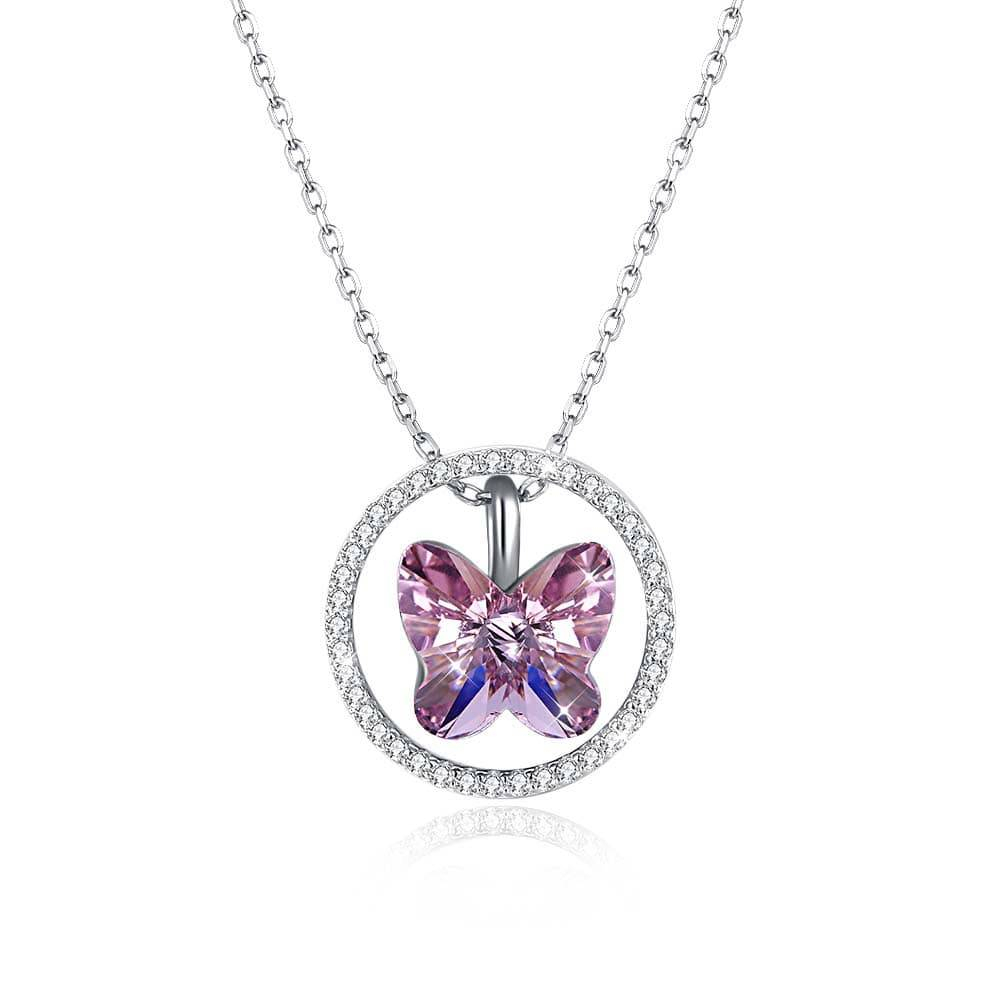 Red Nymph Fashion 925 Sterling Silver Necklace With Pink Crystal Butterfly Pendant | Fashion Accessories, Wedding Rings And Fashion Jewellery With Most Recently Released Pink Butterfly Locket Element Necklaces (View 2 of 25)