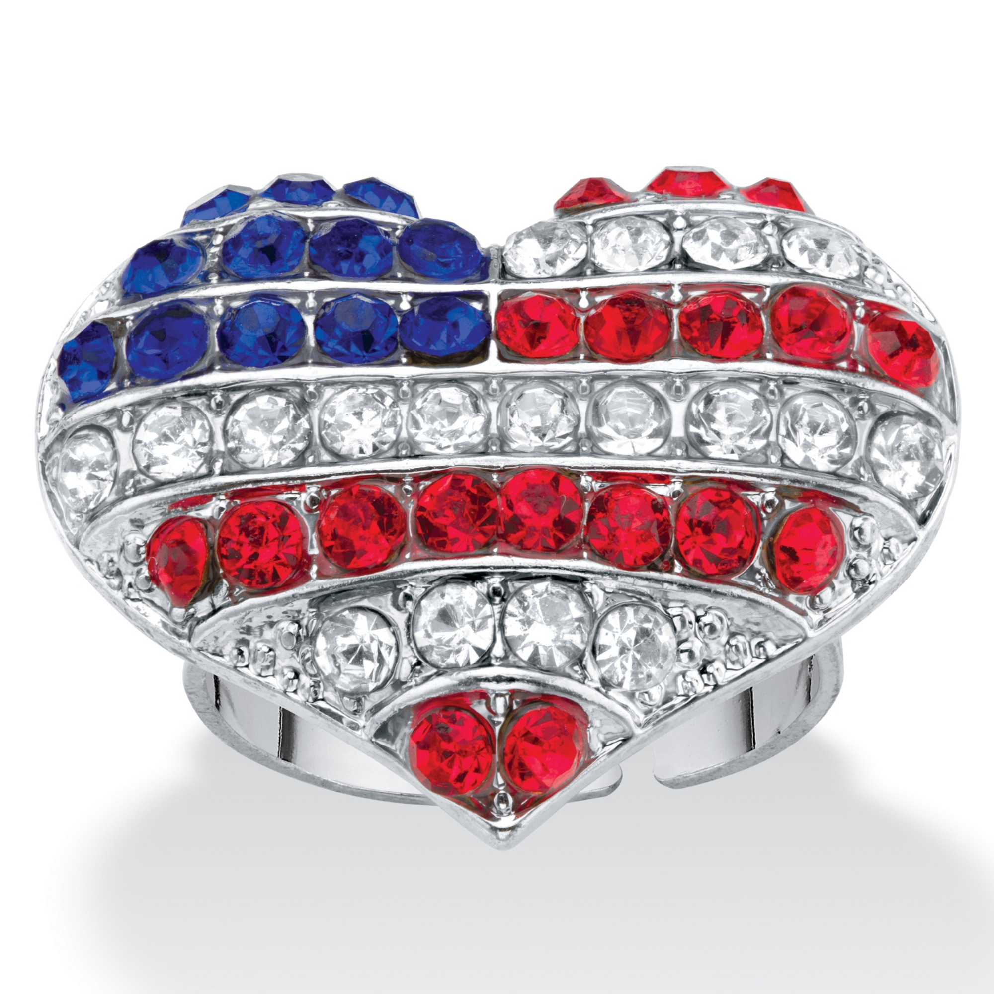 Red White And Blue Crystal American Flag Patriotic Heart Shaped Ring Throughout Most Recently Released Polished Heart Puzzle Rings (View 14 of 25)