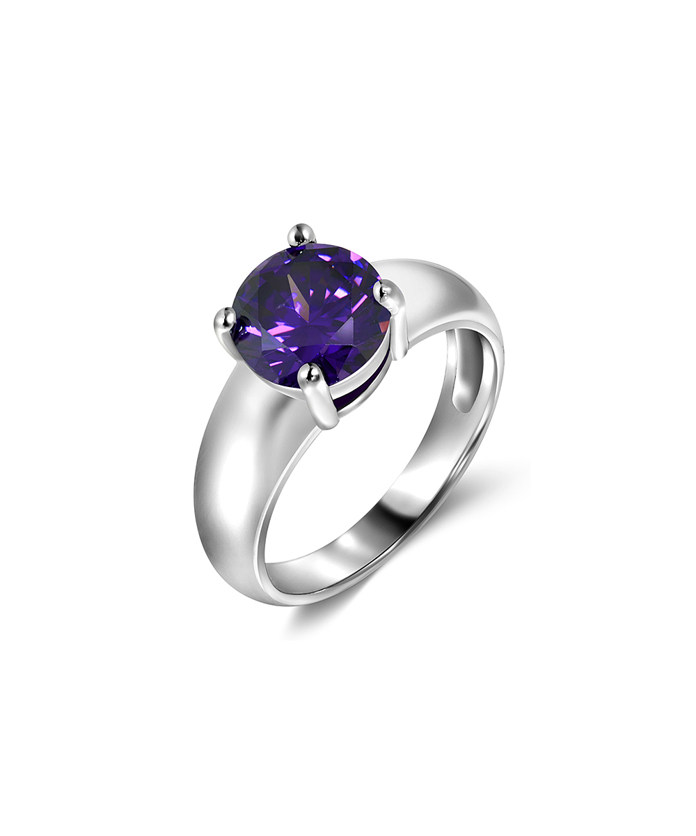 Regal Jewelry Amethyst & Silvertone Round Ring Throughout Most Recently Released Regal Band Rings (Gallery 25 of 25)