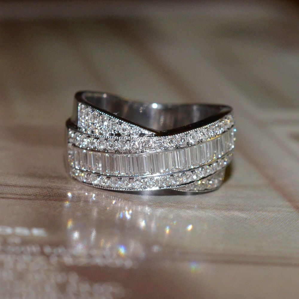 Reserved: Round And Baguette Cut Diamond Wedding Band (18K Inside Most Recently Released Round And Baguette Diamond Vintage Style Anniversary Bands In White Gold (View 15 of 25)