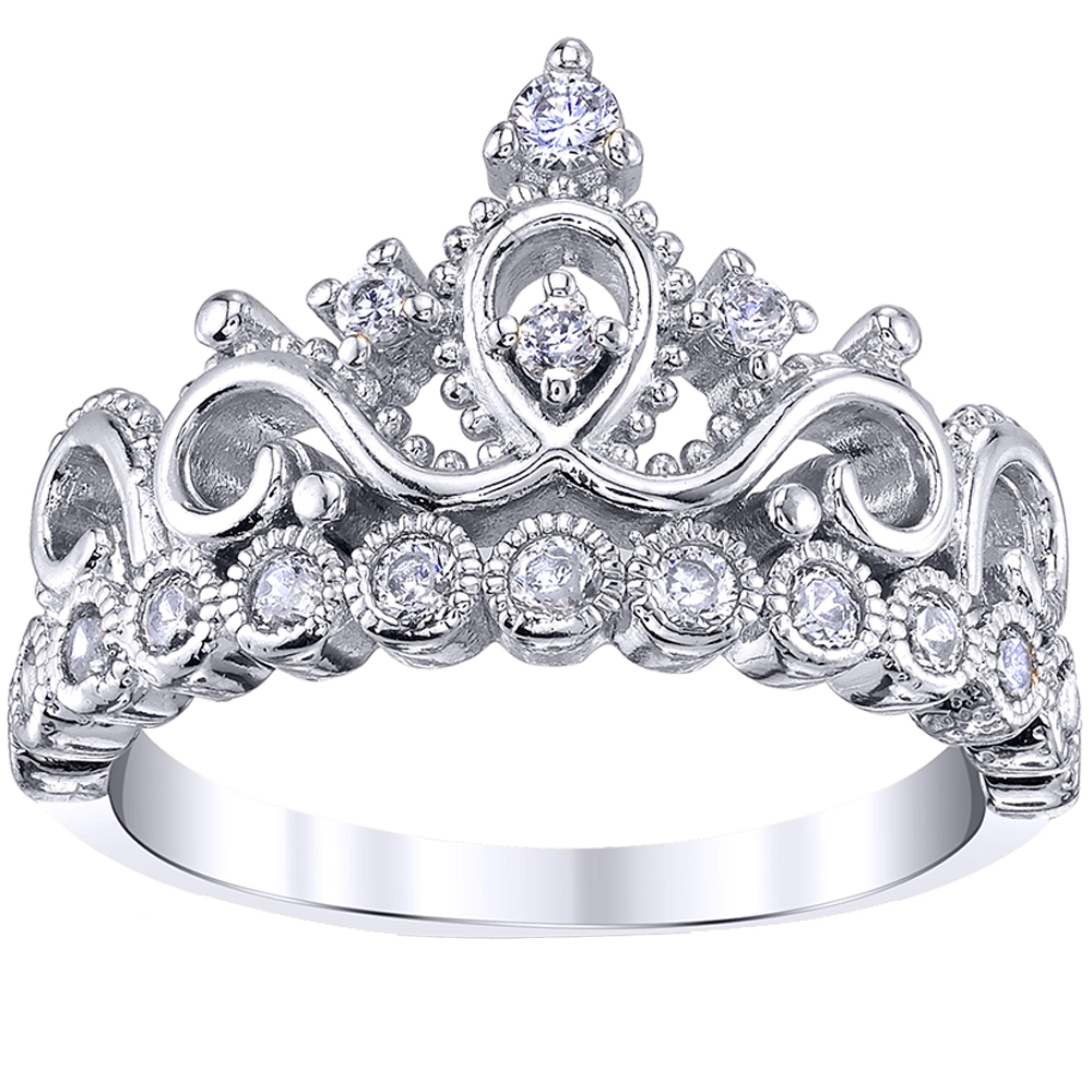 Rhodium Plated 925 Sterling Silver Princess Crown Ring Pertaining To Most Current Pink Sparkling Crown Rings (View 17 of 25)