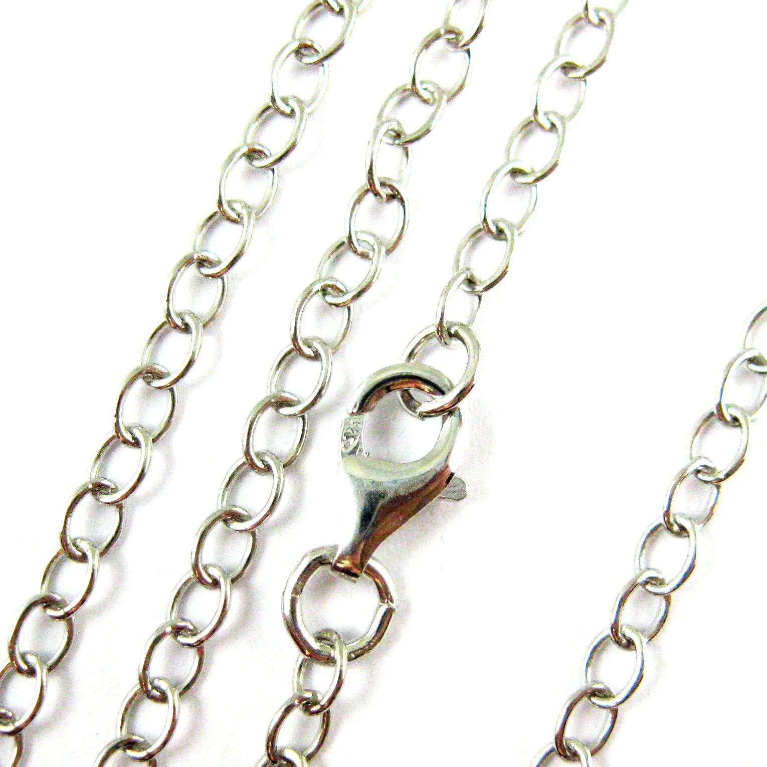 Rhodium Plated Over Of Sterling Silver Chain Necklace – Rhodium Bracelet,  Anklet – 4Mm Cable Chain Necklace – 4Mm Strong Cable Chain  All Sizes Pertaining To Most Popular Classic Cable Chain Necklaces (View 22 of 25)