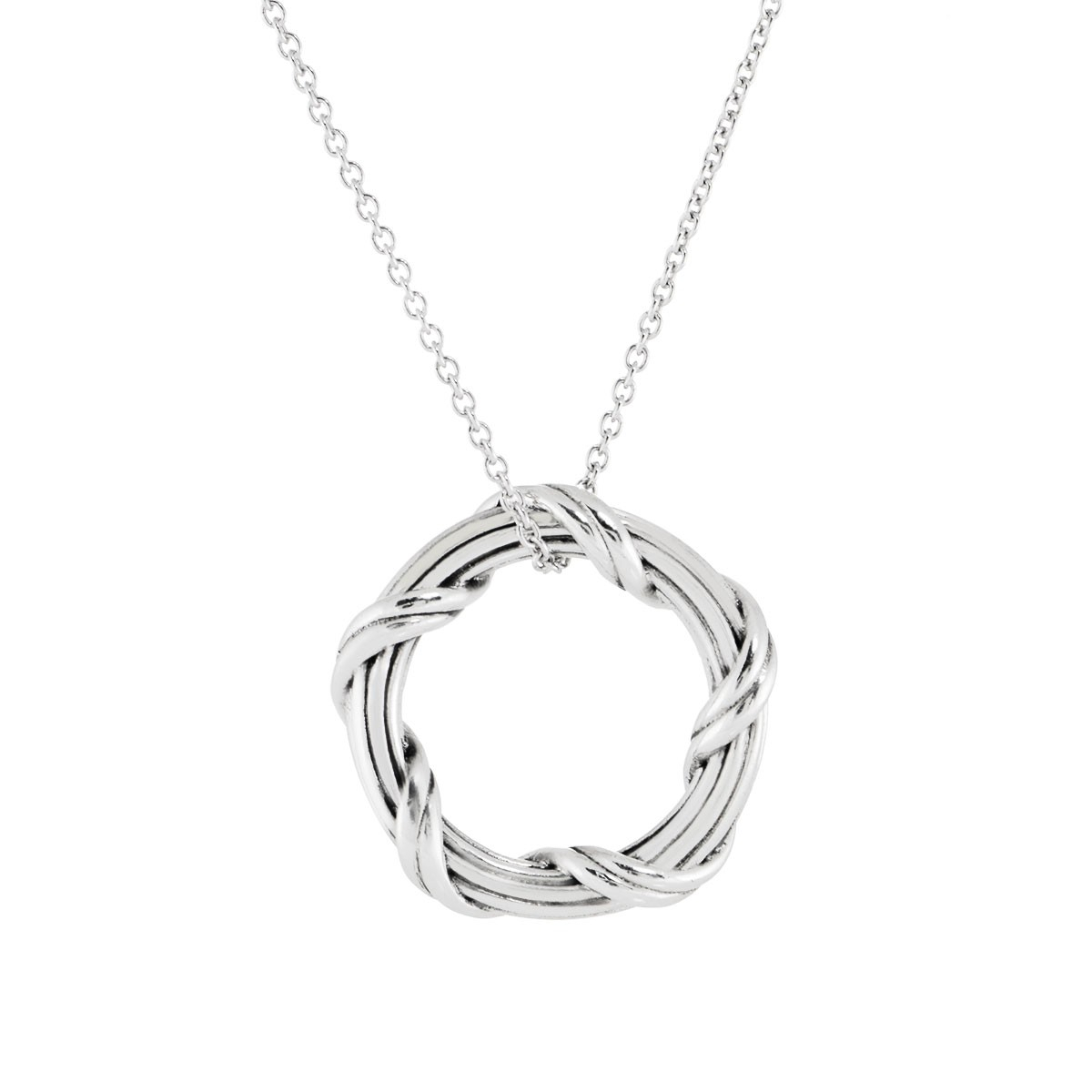 Ribbon & Reed Signature Classic Circle Pendant Necklace In Sterling Intended For Most Recent Ribbon Open Heart Necklaces (Gallery 24 of 25)