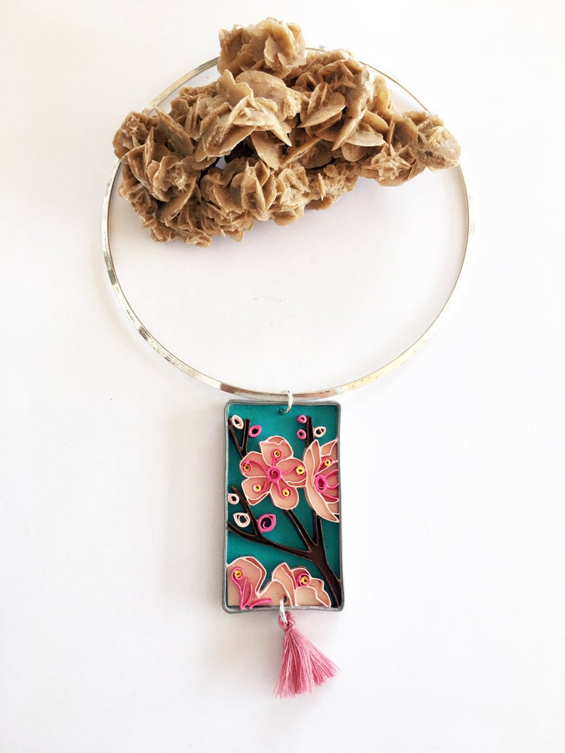 Rigid Choker Necklace With Rectangular Quilling Paper Pendant, With Pink Cherry Blossoms On A Turquoise Background, Ecojewelry Throughout Best And Newest Pink Cherry Blossom Flower Locket Element Necklaces (View 13 of 25)
