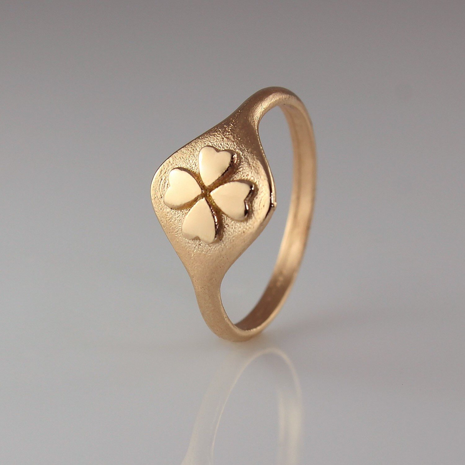 Ring For Women, Signet Ring, Rose Gold Signet Ring, Seal Ring, Pinky Within Latest Lucky Four Leaf Clover Open Rings (View 23 of 25)